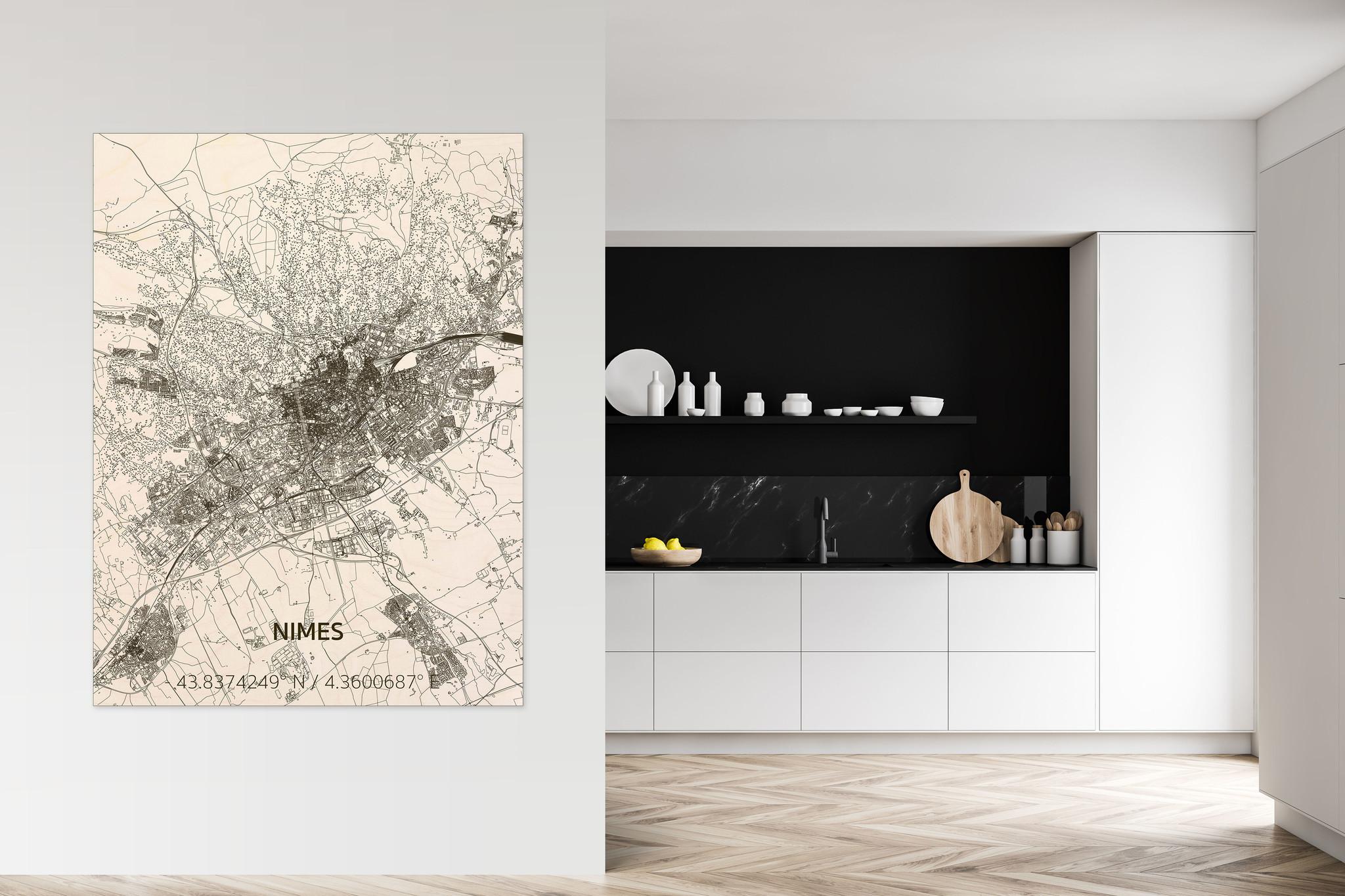 Citymap Nîmes | wooden wall decoration-2