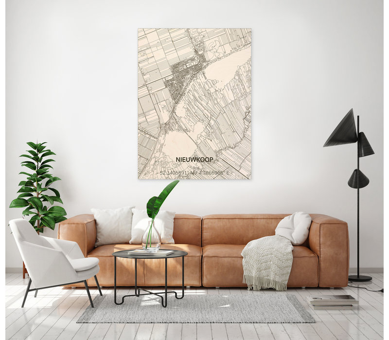 Stadtplan Nieuwkoop | Wanddekoration Holz