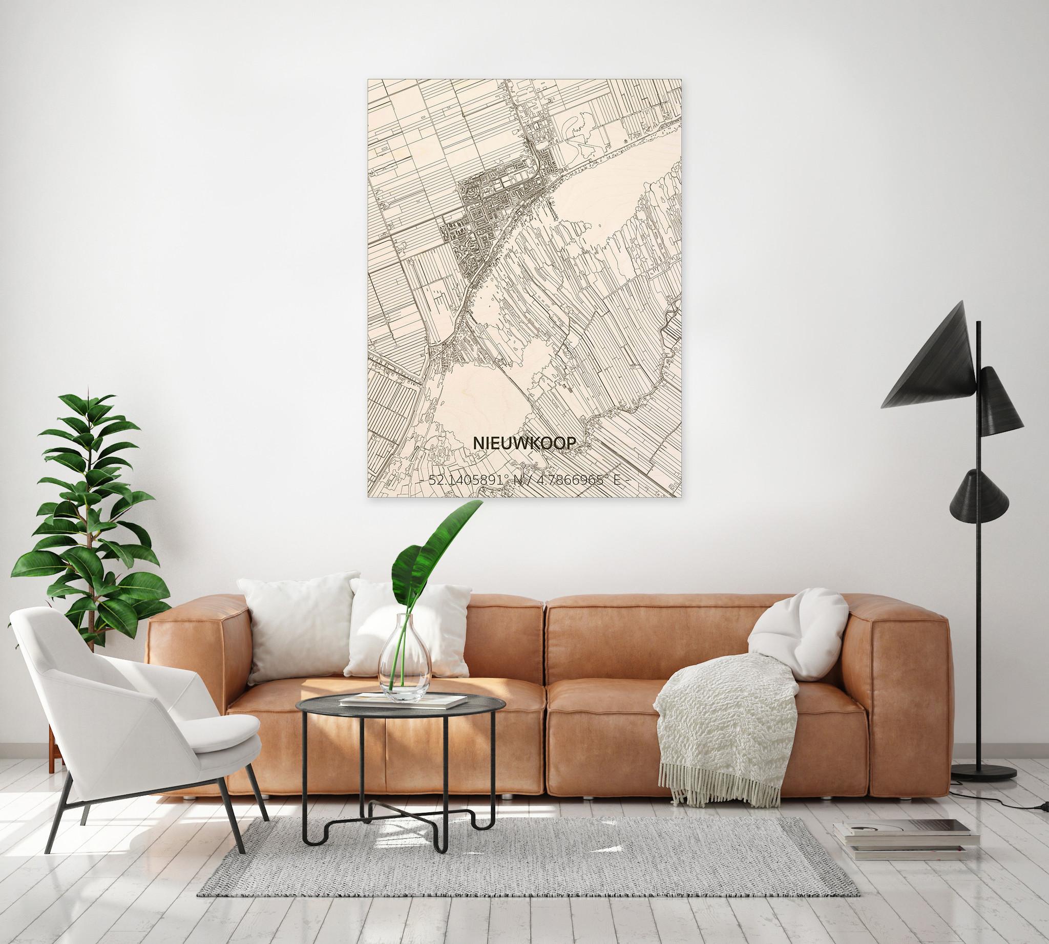 Citymap Nieuwkoop | houten wanddecoratie-2