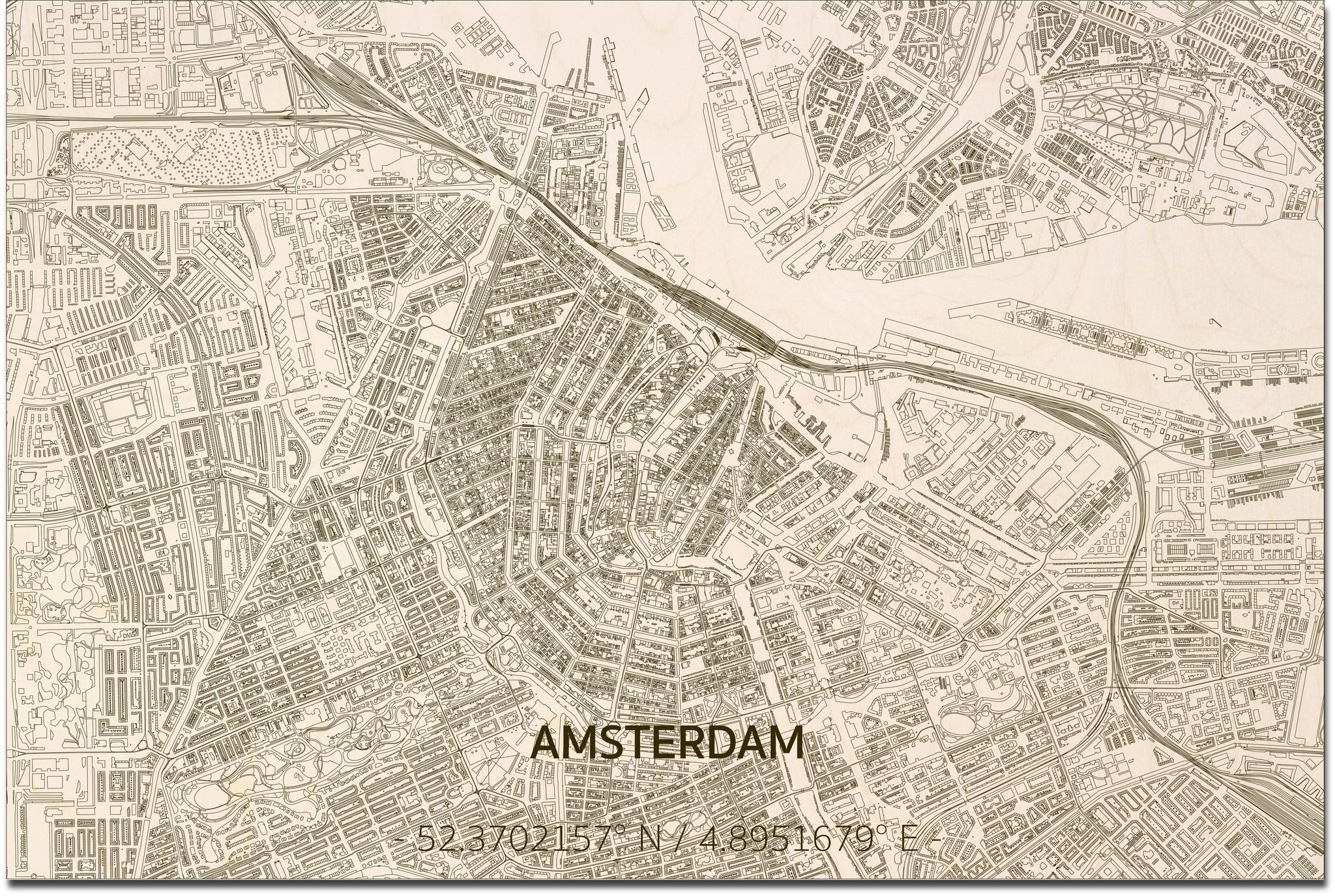 Wooden wall decoration Citymap Amsterdam XL-3