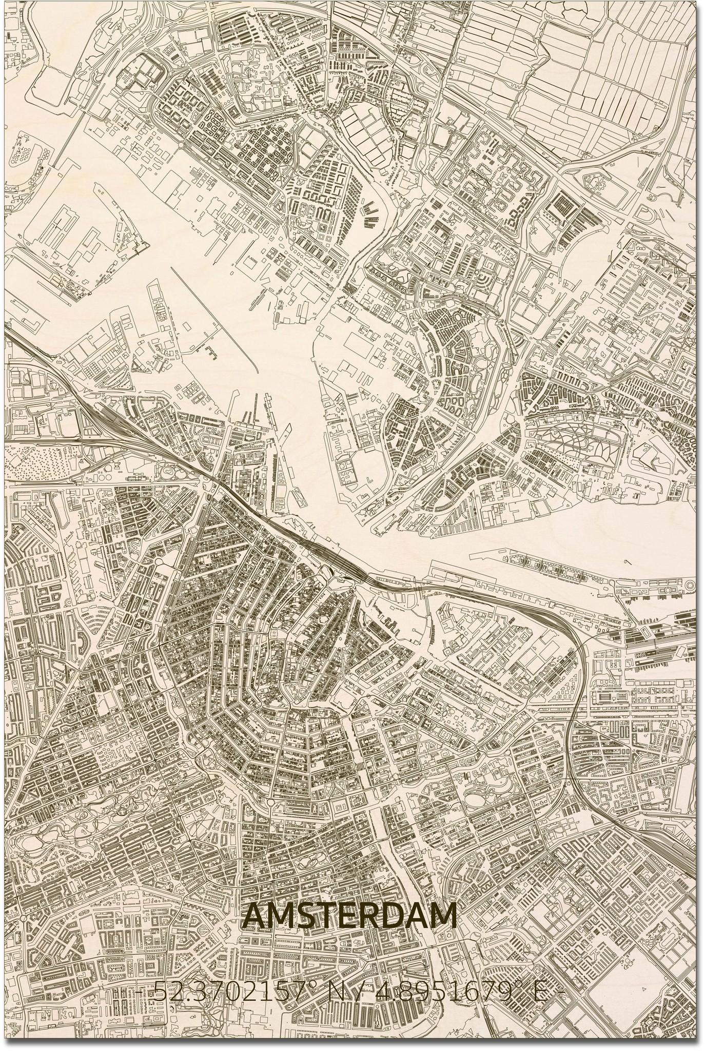 Citymap Amsterdam XL   Houten wanddecoratie-1