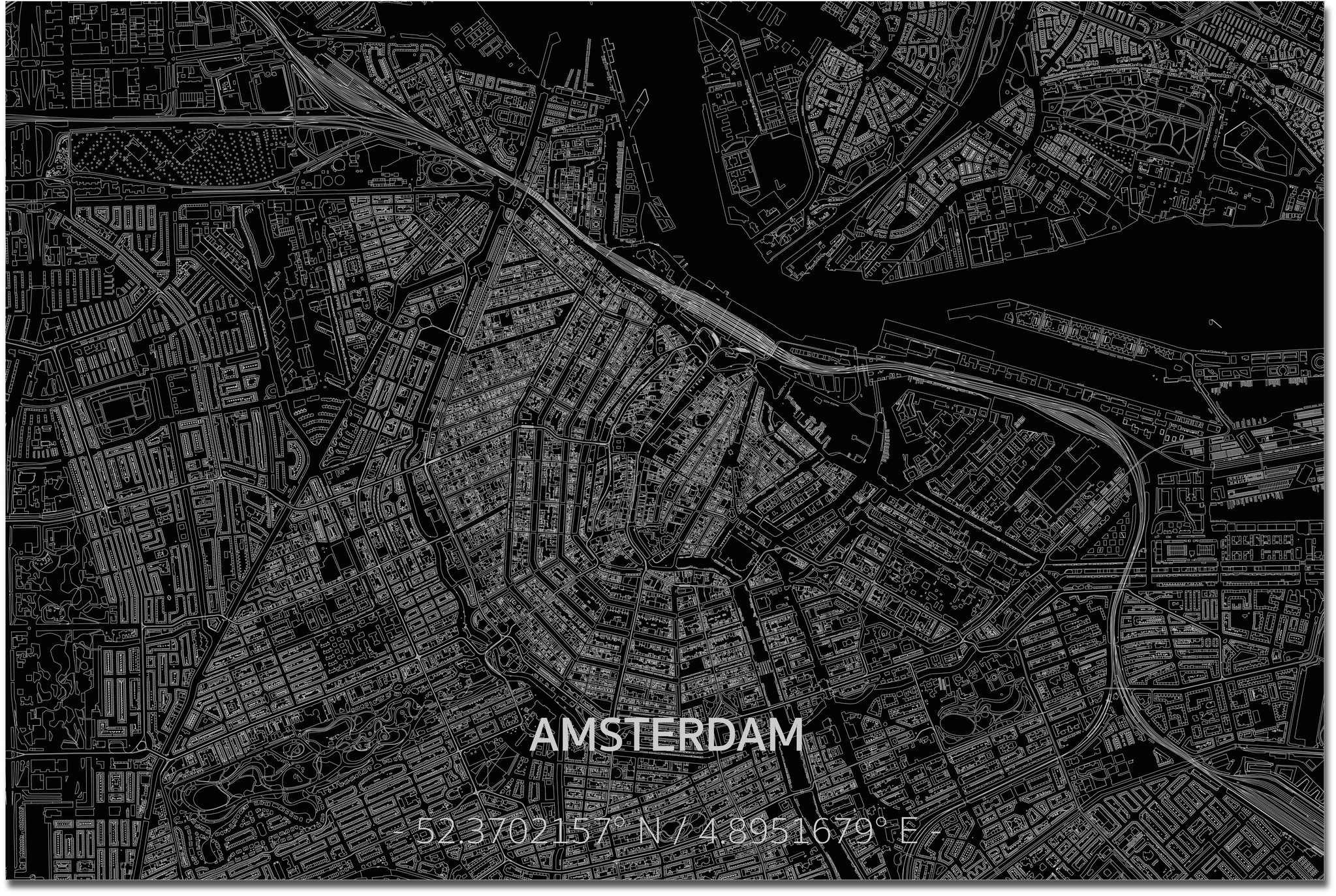 Citymap Amsterdam  XL | Aluminum wall decoration-3