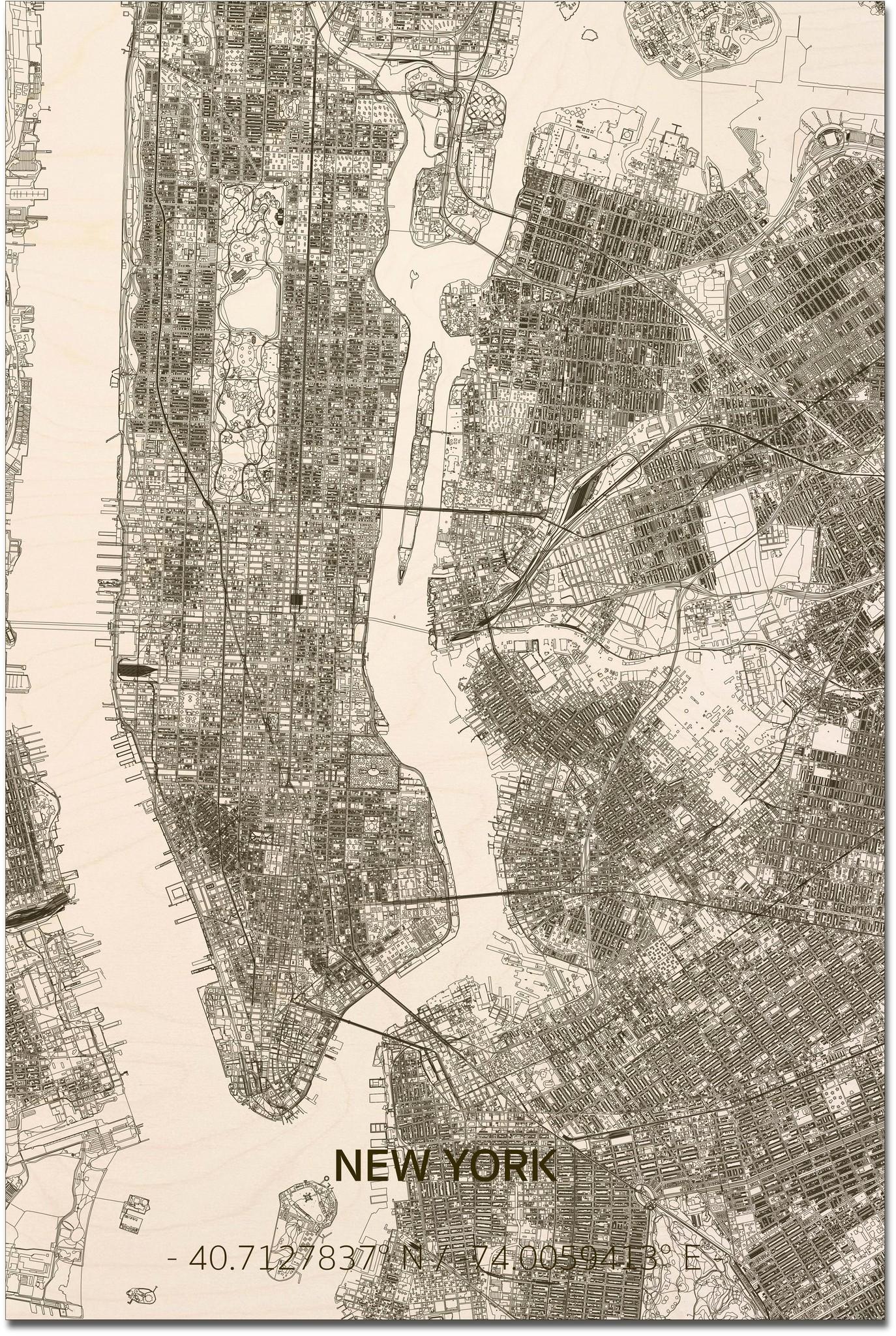Wooden wall decoration Citymap New York  XL-1