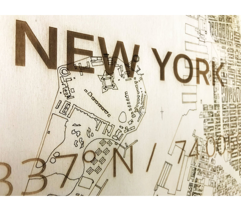 Wooden wall decoration Citymap New York  XL
