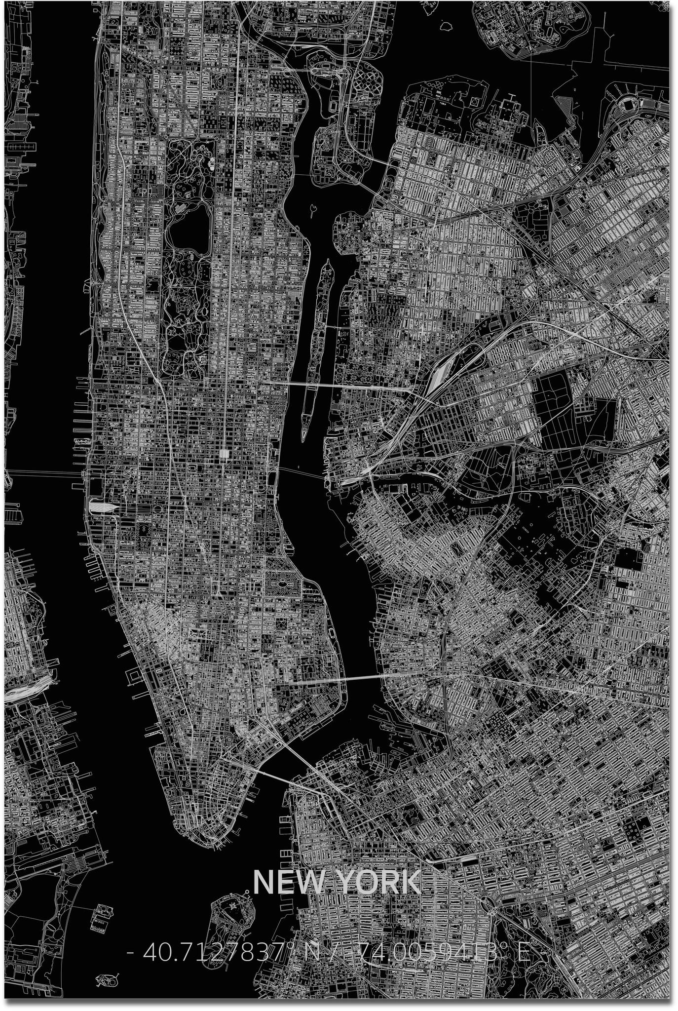 Citymap New York  XL | Aluminium wanddecoratie-1