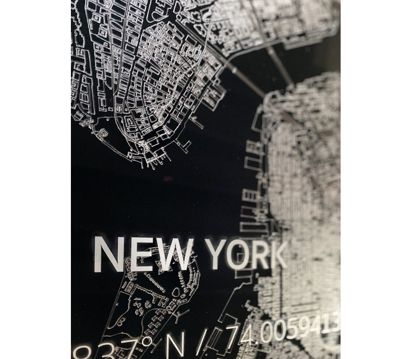 Stadtkarte New York  XL | Aluminium Wanddekoration
