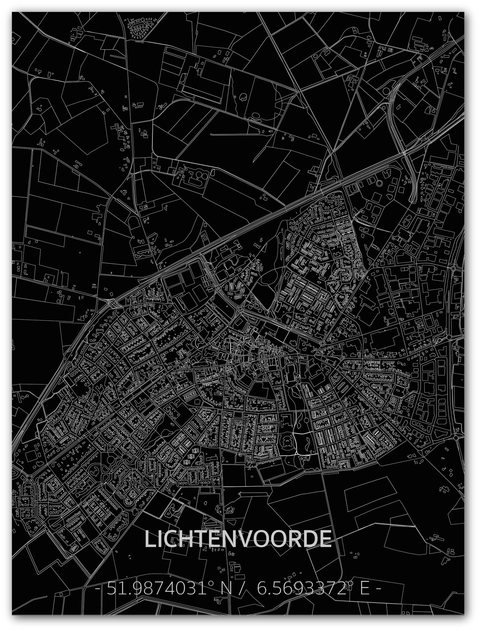 Citymap Lichtenvoorde | Aluminium wanddecoratie-1