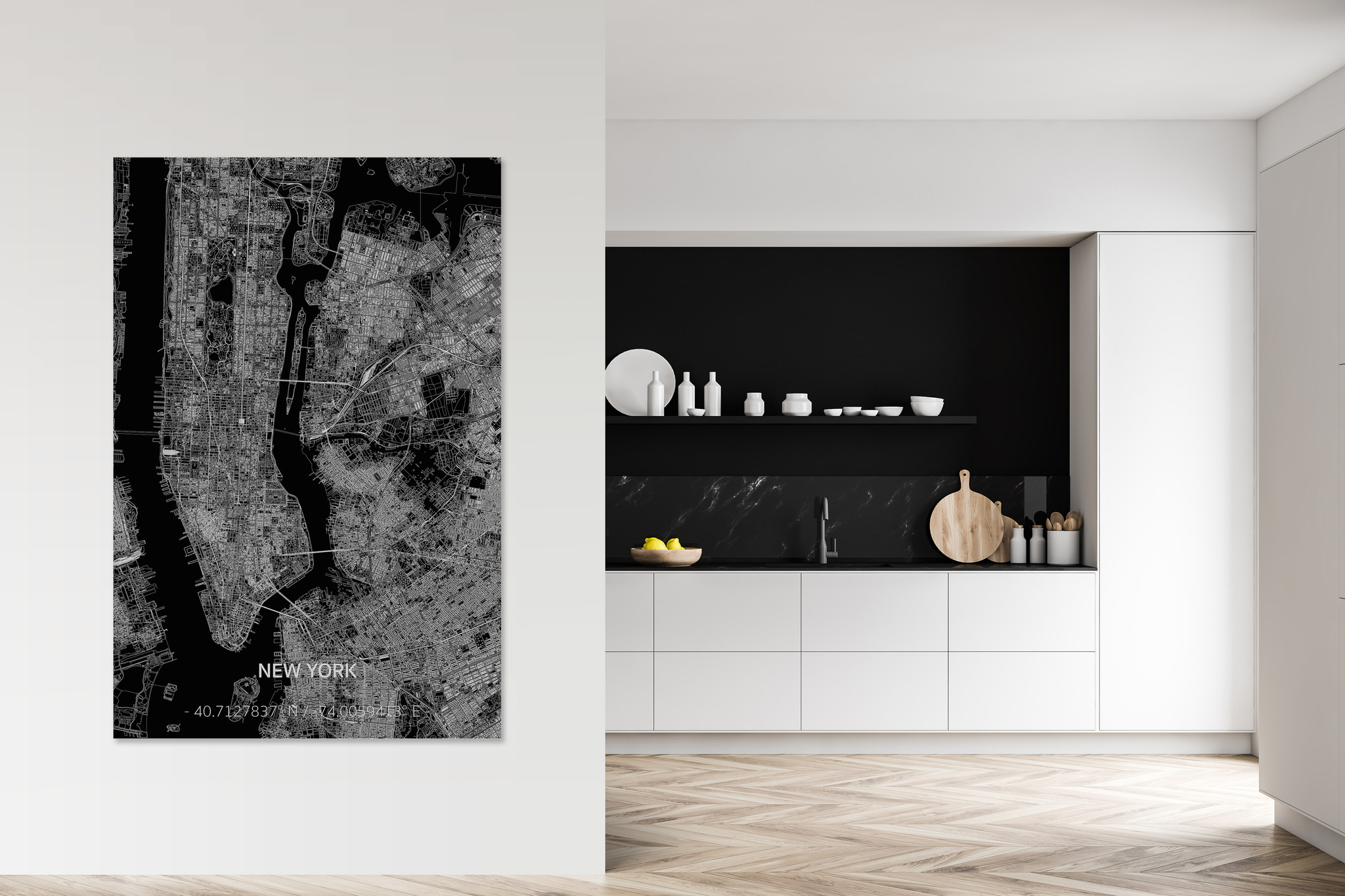 Citymap New York  XL | Aluminium wanddecoratie-2