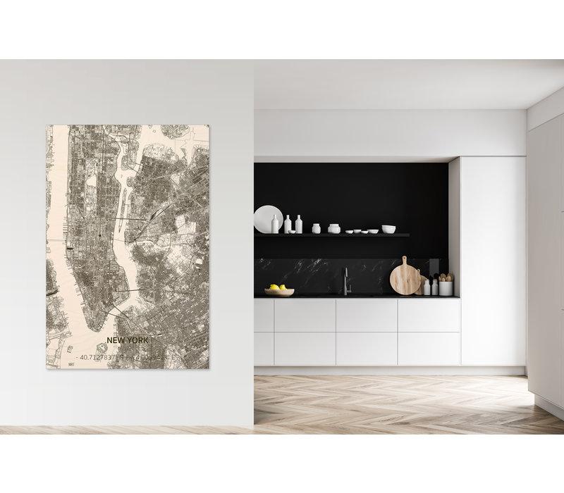 Wanddekoration aus Holz Wandbild New York Stadtplan XL