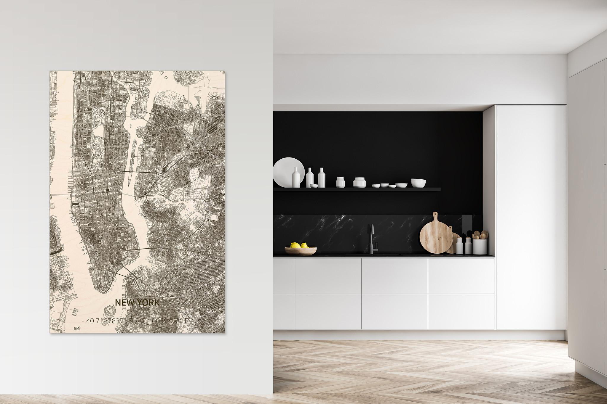 Wooden wall decoration Citymap New York  XL-2