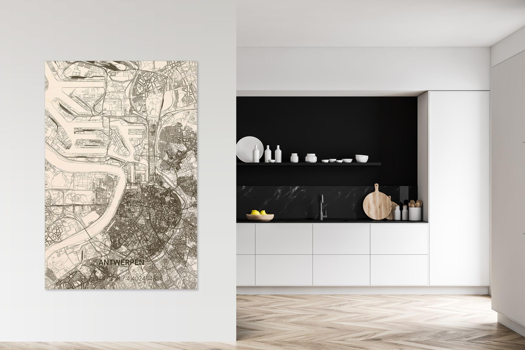 Wanddekoration aus Holz Wandbild Antwerpen XL-2