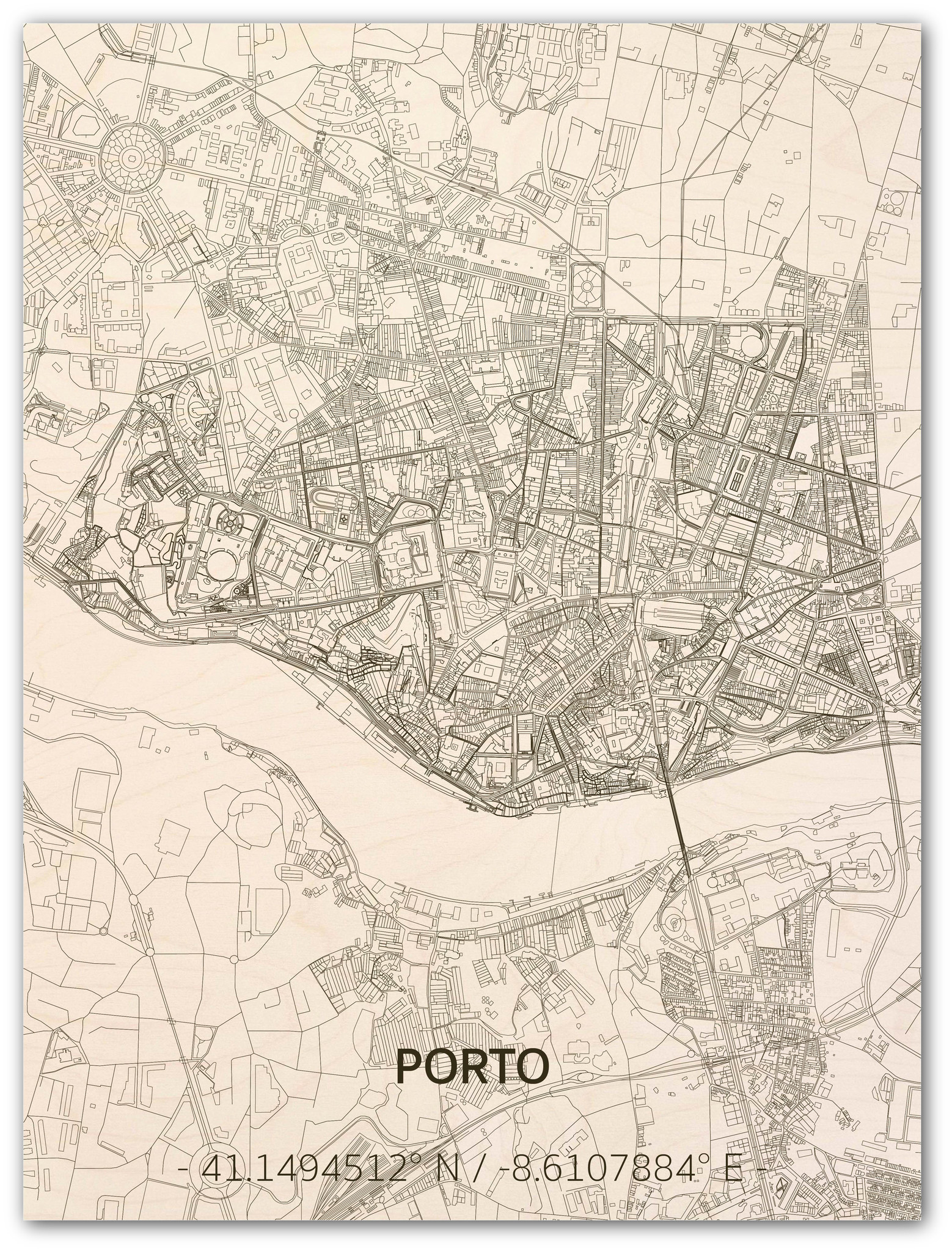 Citymap Porto | wooden wall decoration-1