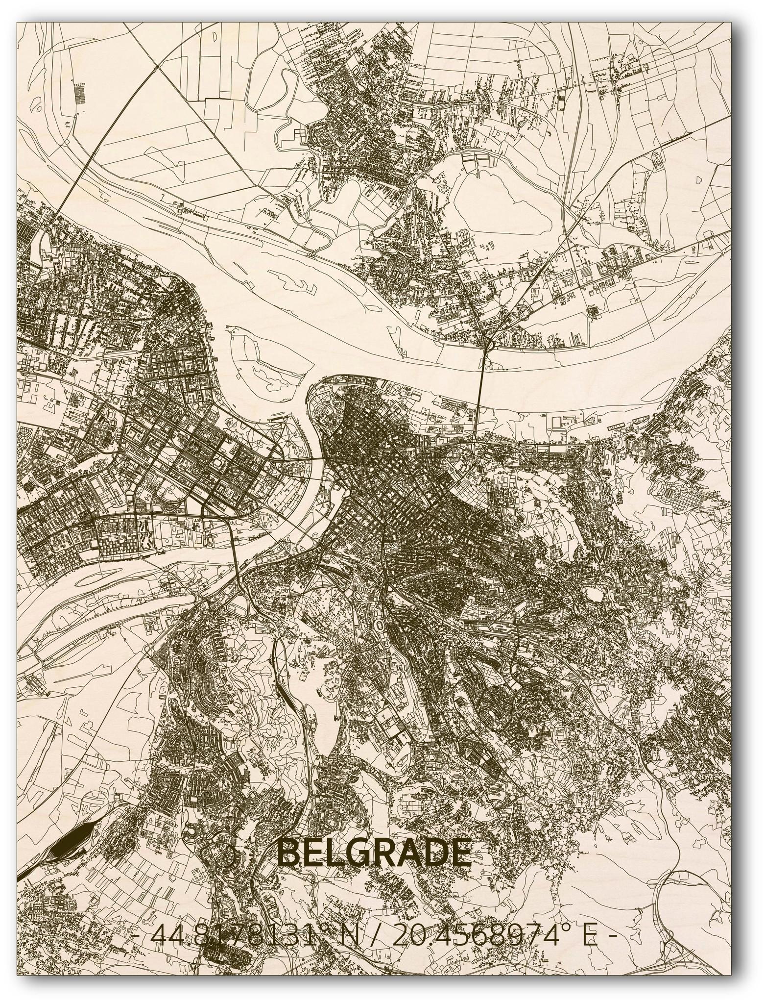 Citymap Belgrado | houten wanddecoratie-1