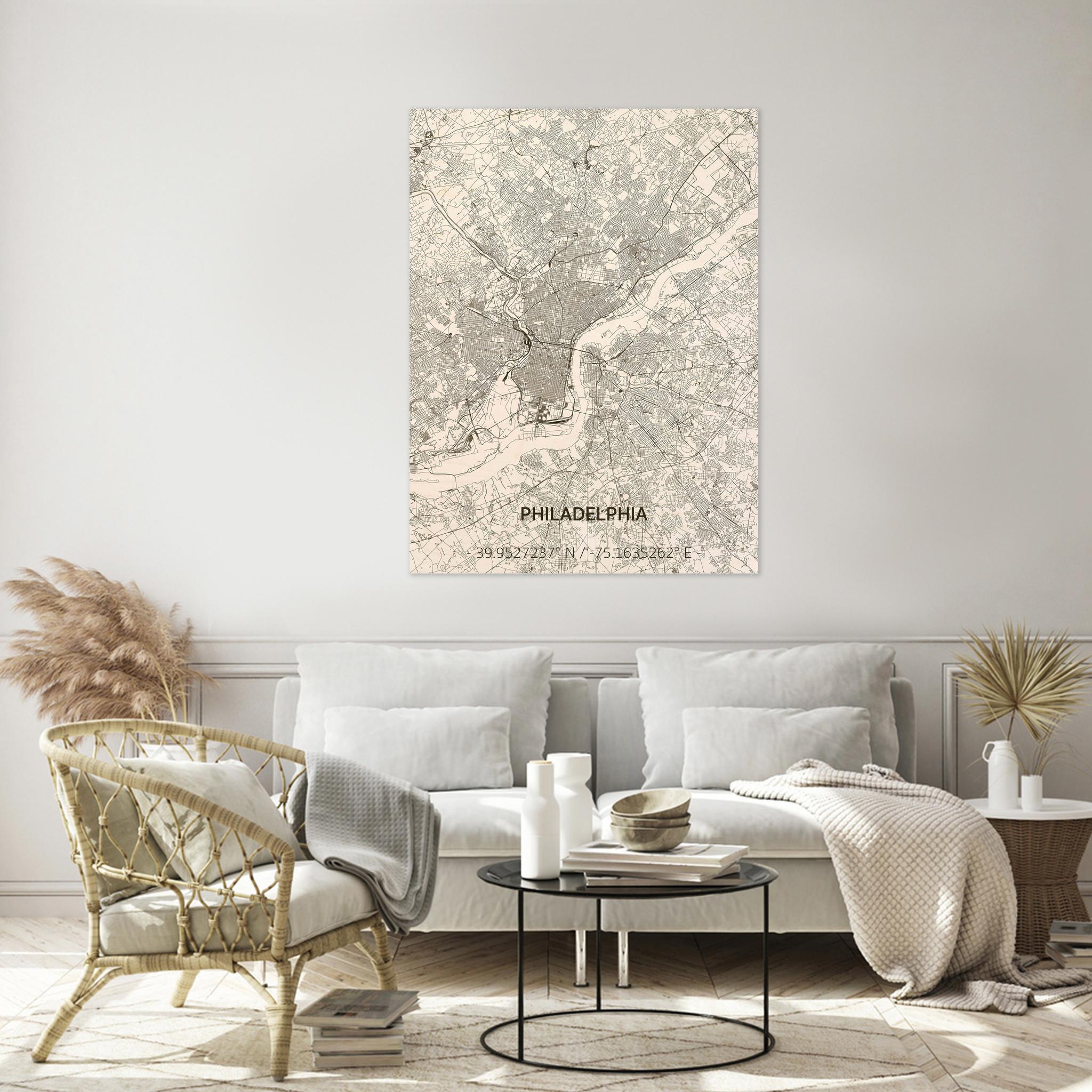 Stadtplan Philadelphia | Wanddekoration Holz-2