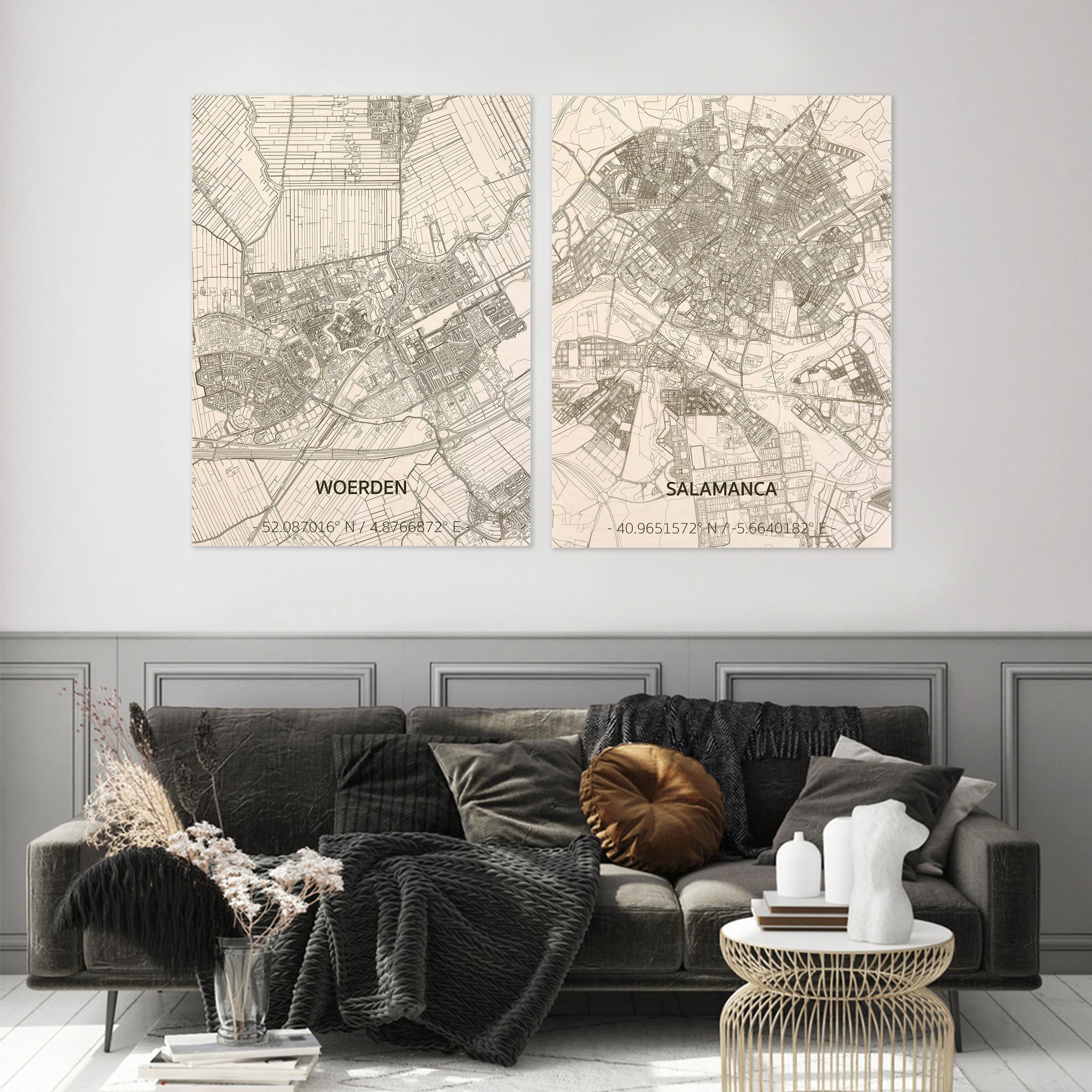 Stadtplan Salamanca | Wanddekoration Holz-2