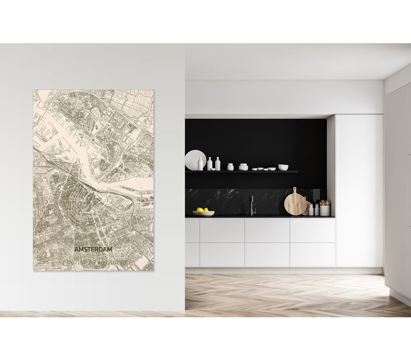 Wanddekoration aus Holz Wandbild Amsterdam Stadtplan XL