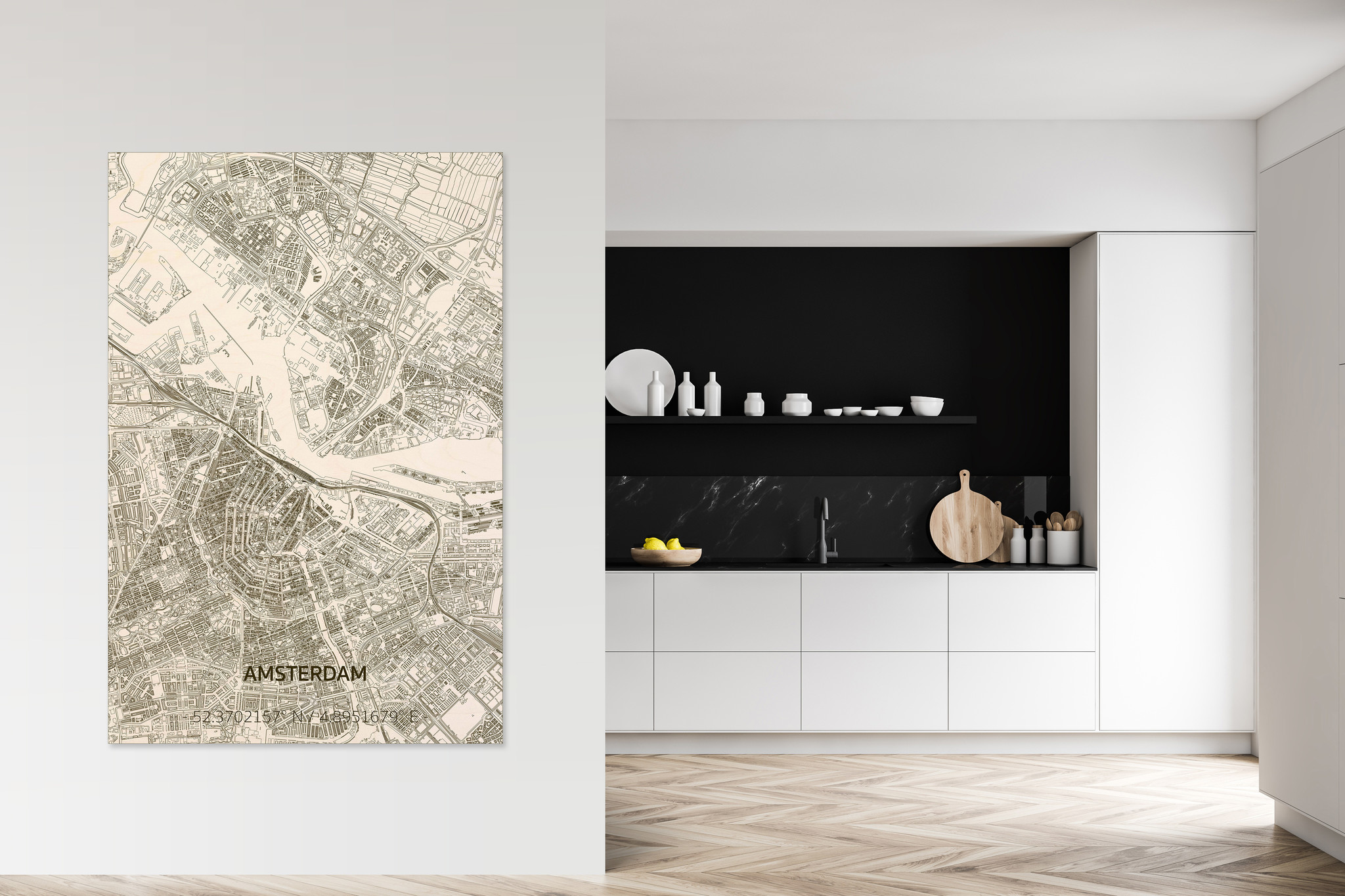 Wooden wall decoration Citymap Amsterdam XL-2