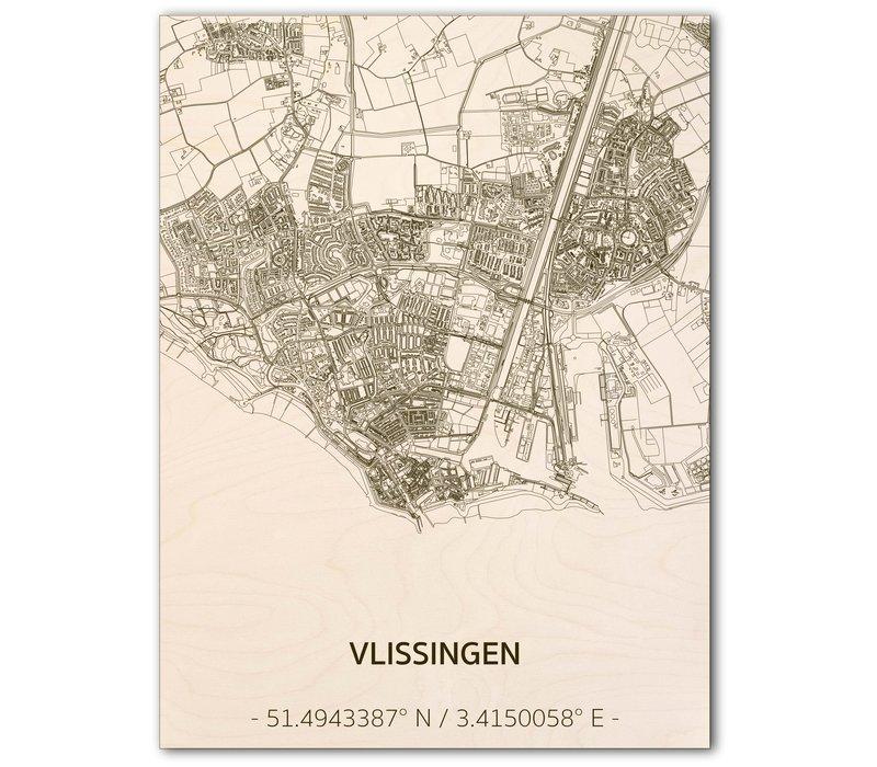Citymap Vlissingen   wooden wall decoration