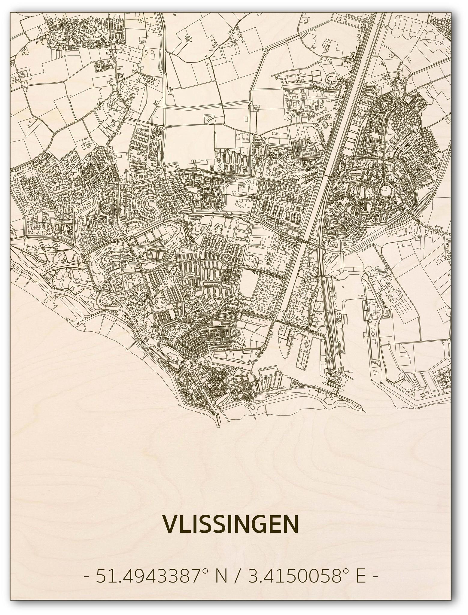 Stadtplan Vlissingen | Wanddekoration Holz-1