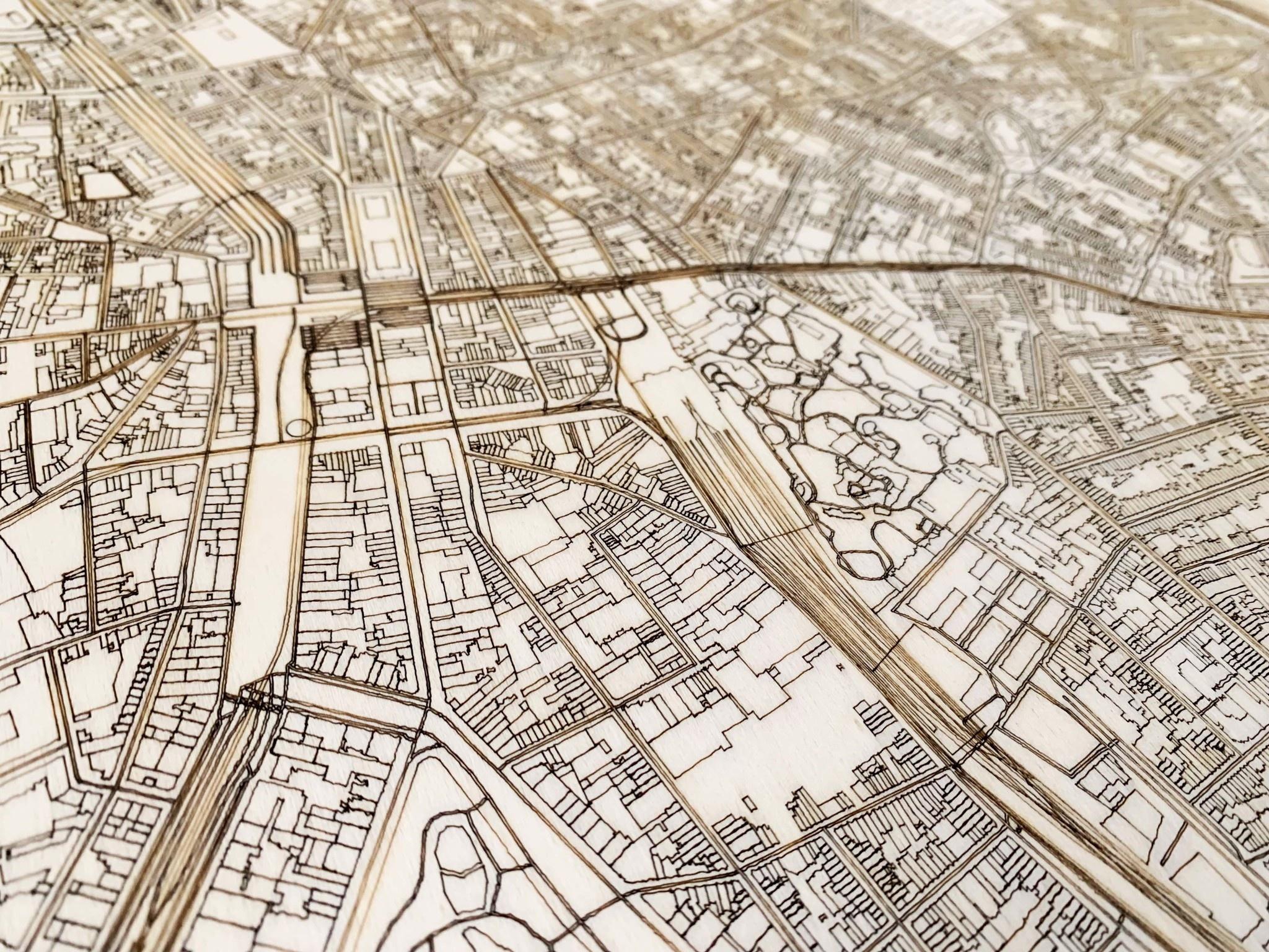 Wooden wall decoration Citymap Amstelveen XL-4