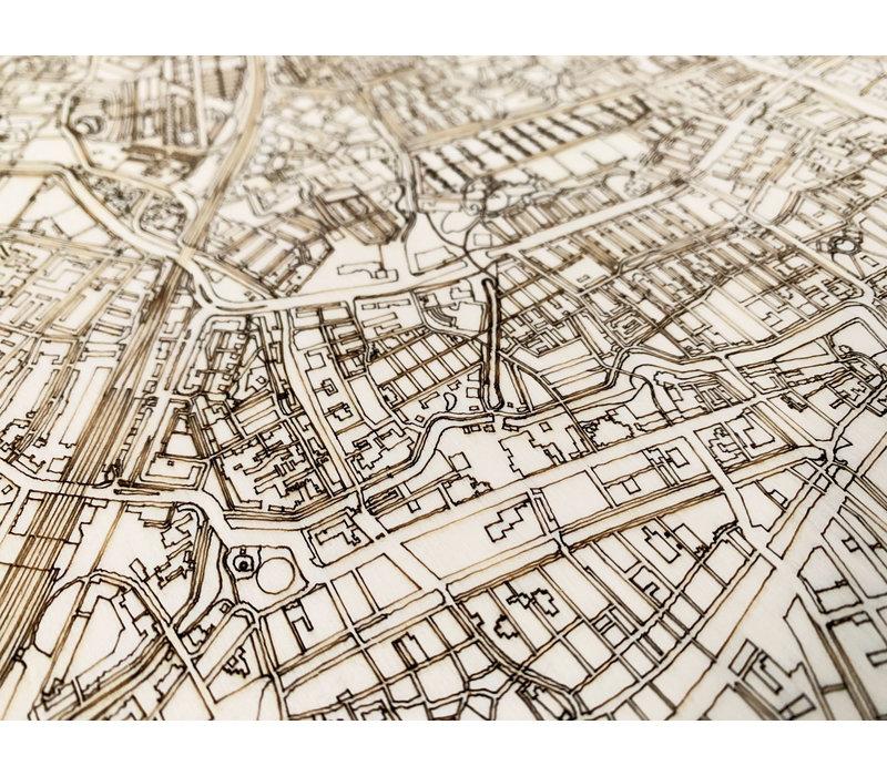 Wooden wall decoration Citymap Amstelveen XL