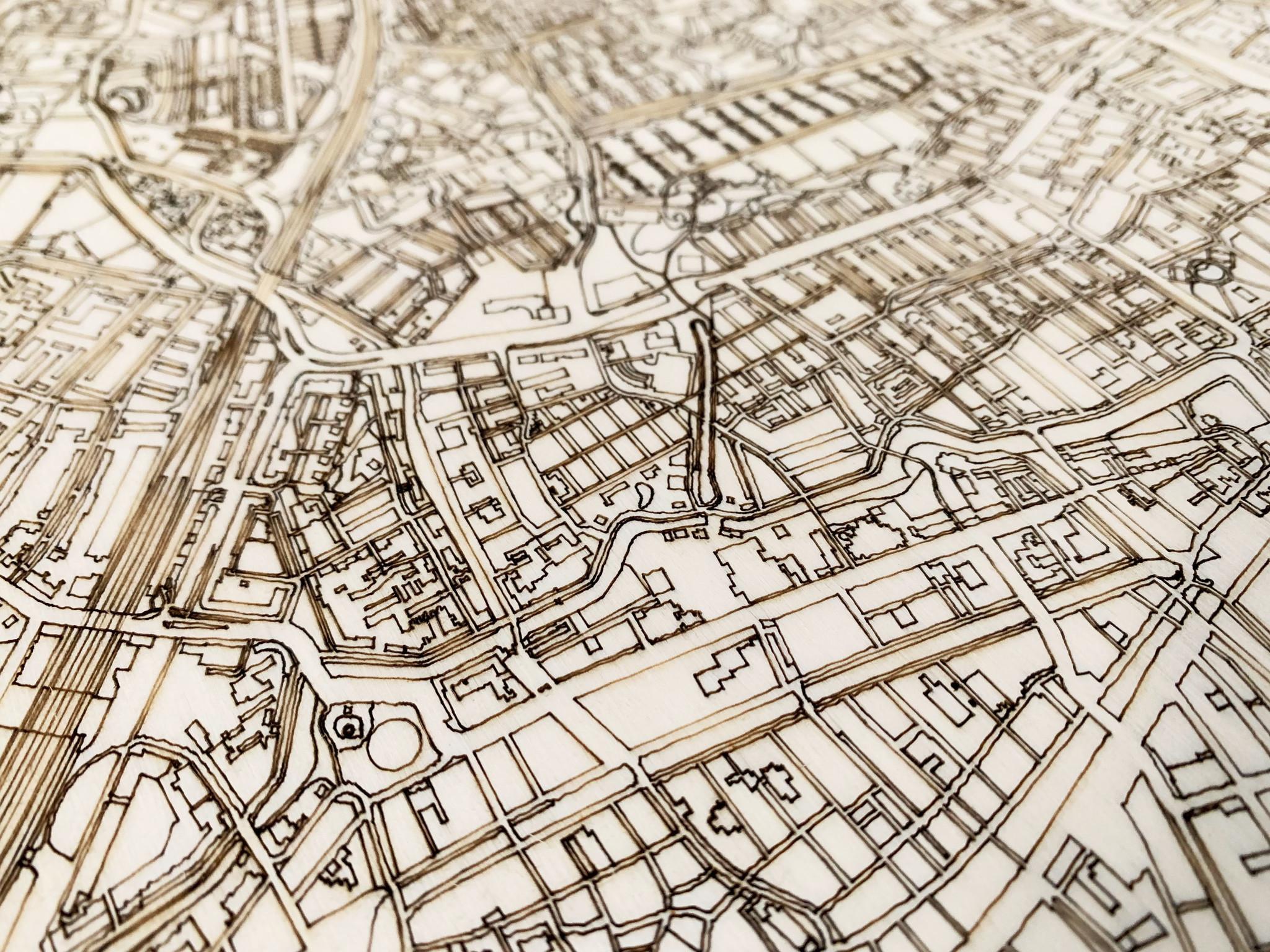 Wooden wall decoration Citymap Amstelveen XL-3