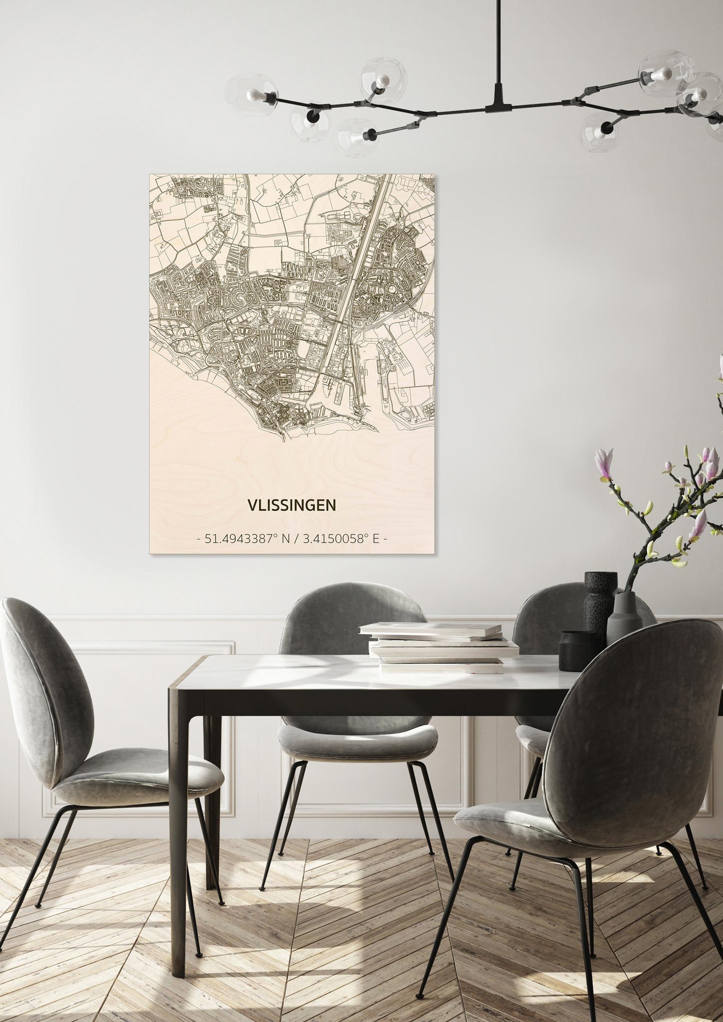 Stadtplan Vlissingen | Wanddekoration Holz-2
