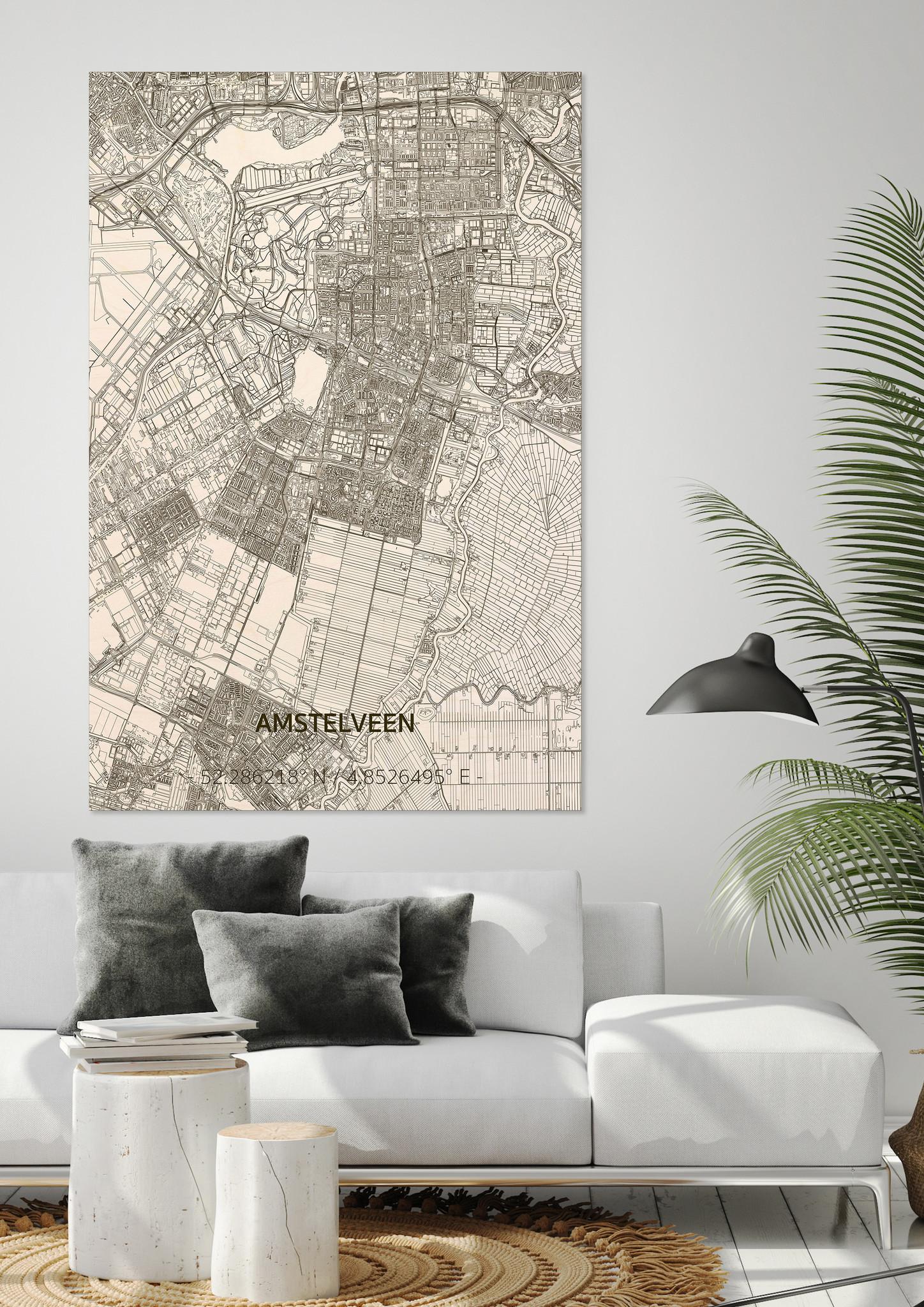 Wooden wall decoration Citymap Amstelveen XL-2
