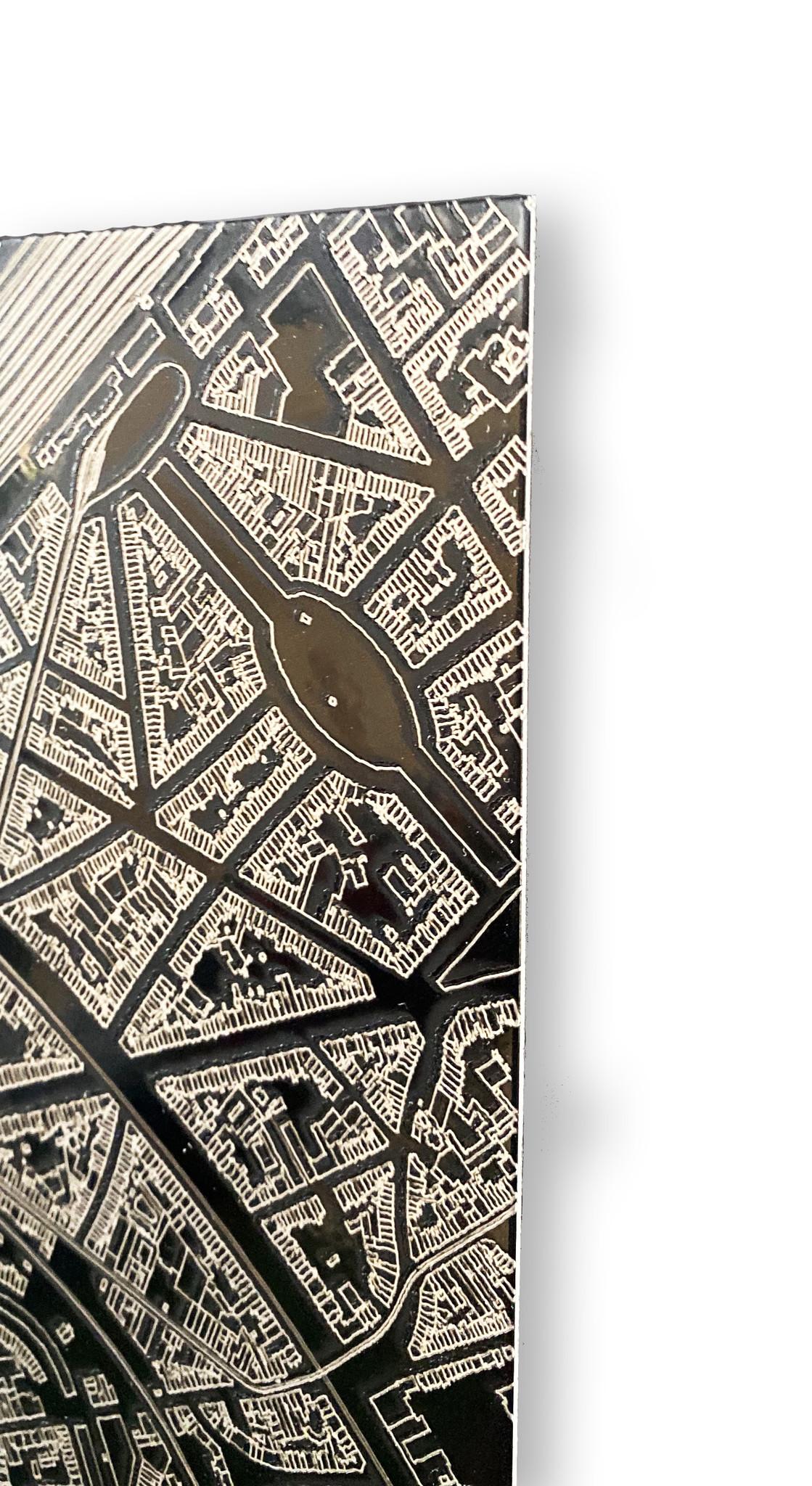 Stadtkarte Frankfurt | Aluminium Wanddekoration-3