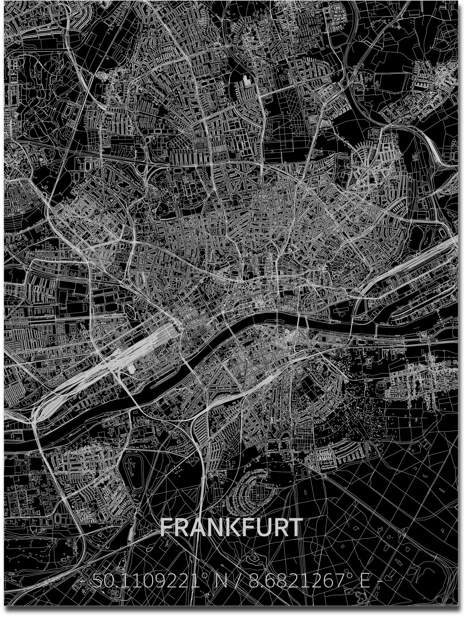 Stadtkarte Frankfurt | Aluminium Wanddekoration-1