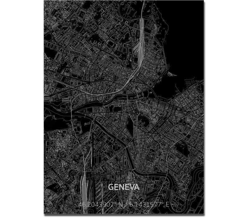 Stadtkarte Genf | Aluminium Wanddekoration