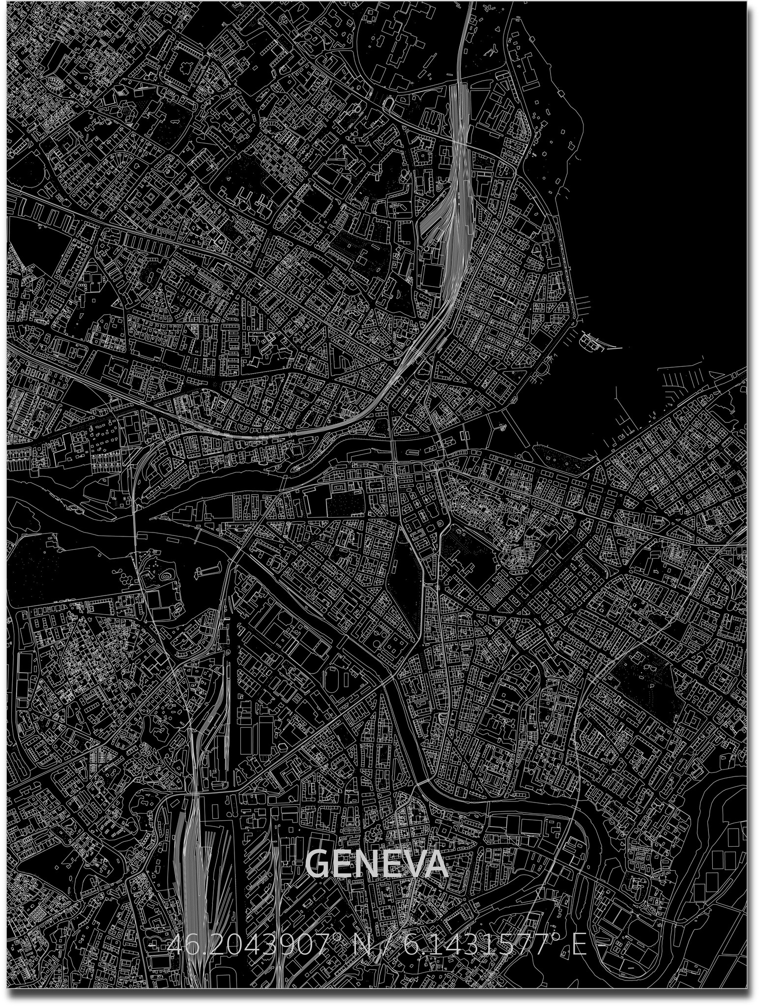 Citymap Genève | Aluminium wanddecoratie-1