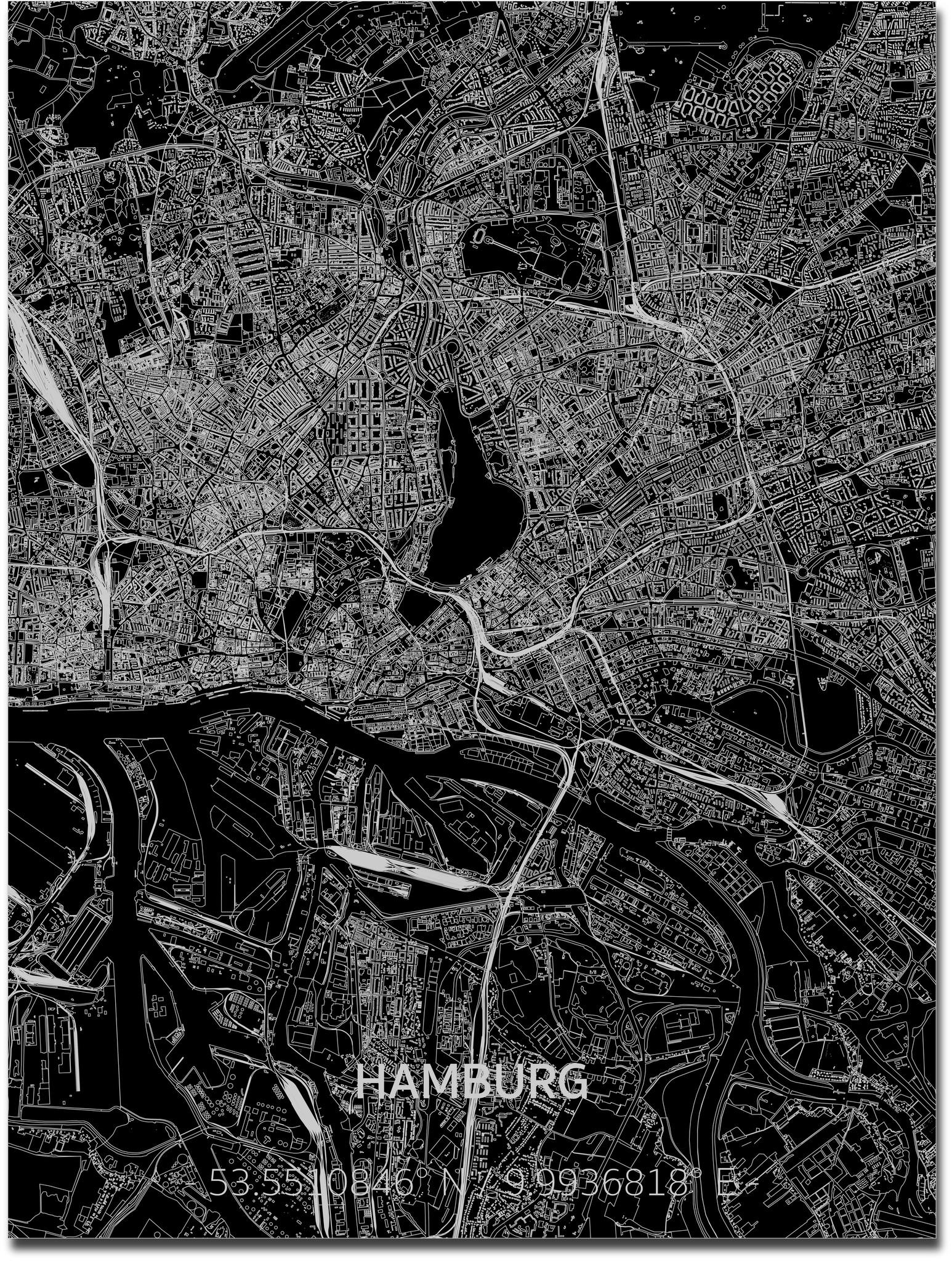 Citymap Hamburg | Aluminium wanddecoratie-1