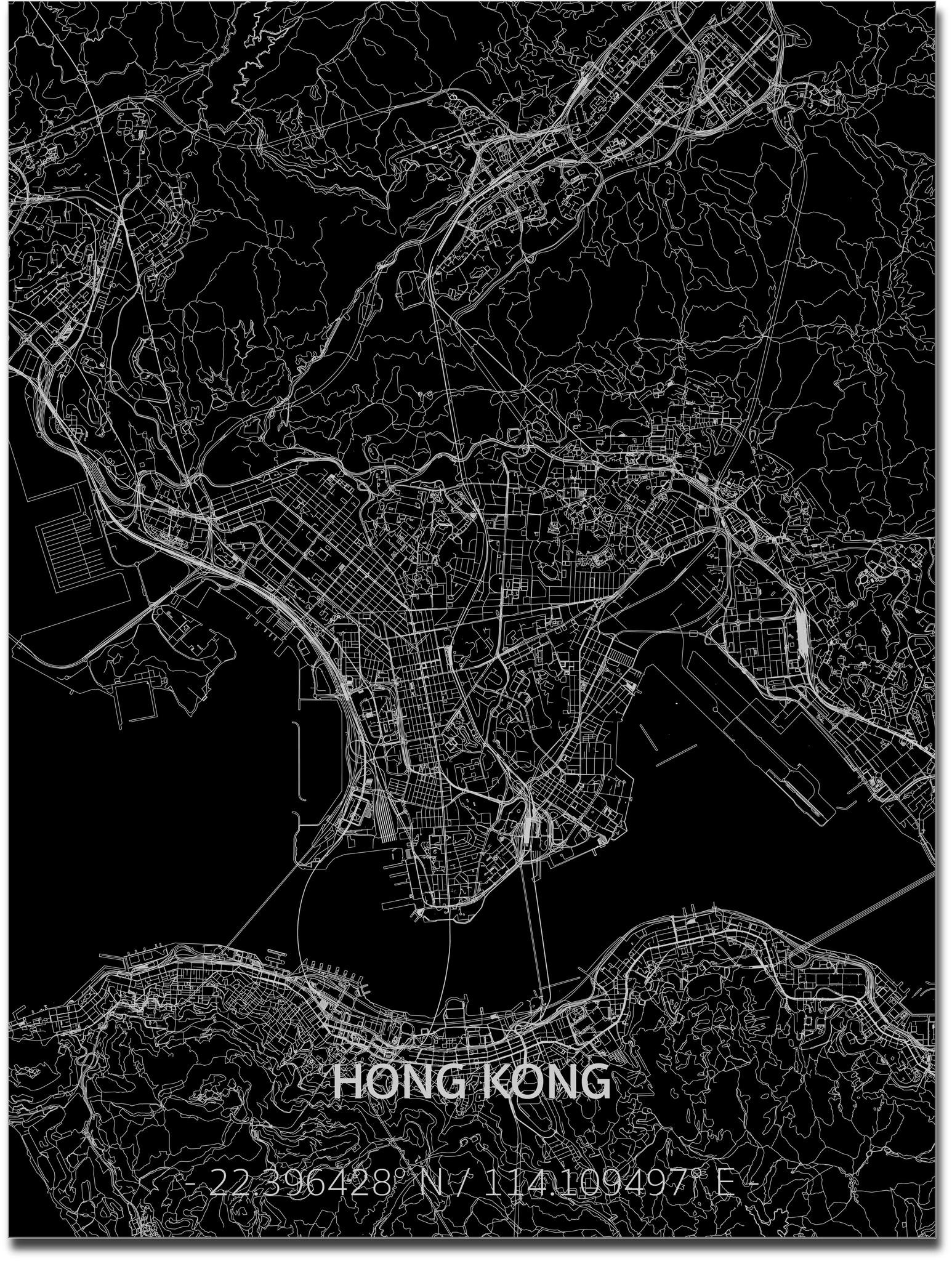 Citymap Hong Kong | Aluminium wanddecoratie-1