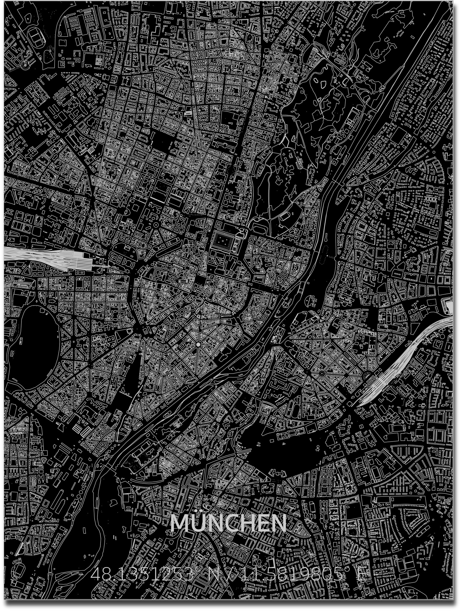 Citymap Munchen | Aluminium wanddecoratie-1