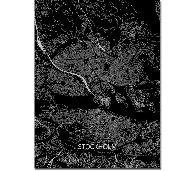 Stadtkarte Stockholm | Aluminium Wanddekoration