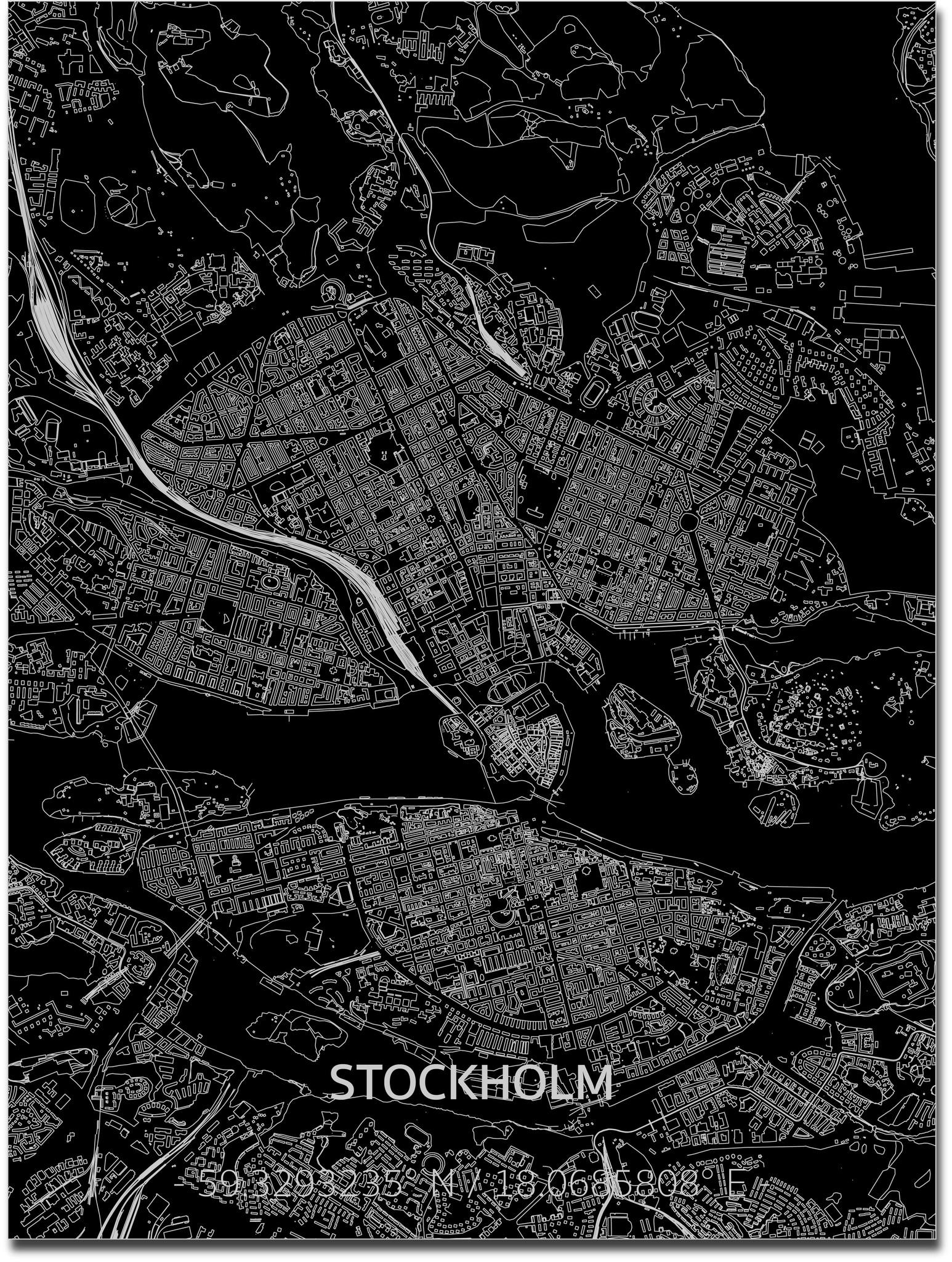 Stadtkarte Stockholm | Aluminium Wanddekoration-1