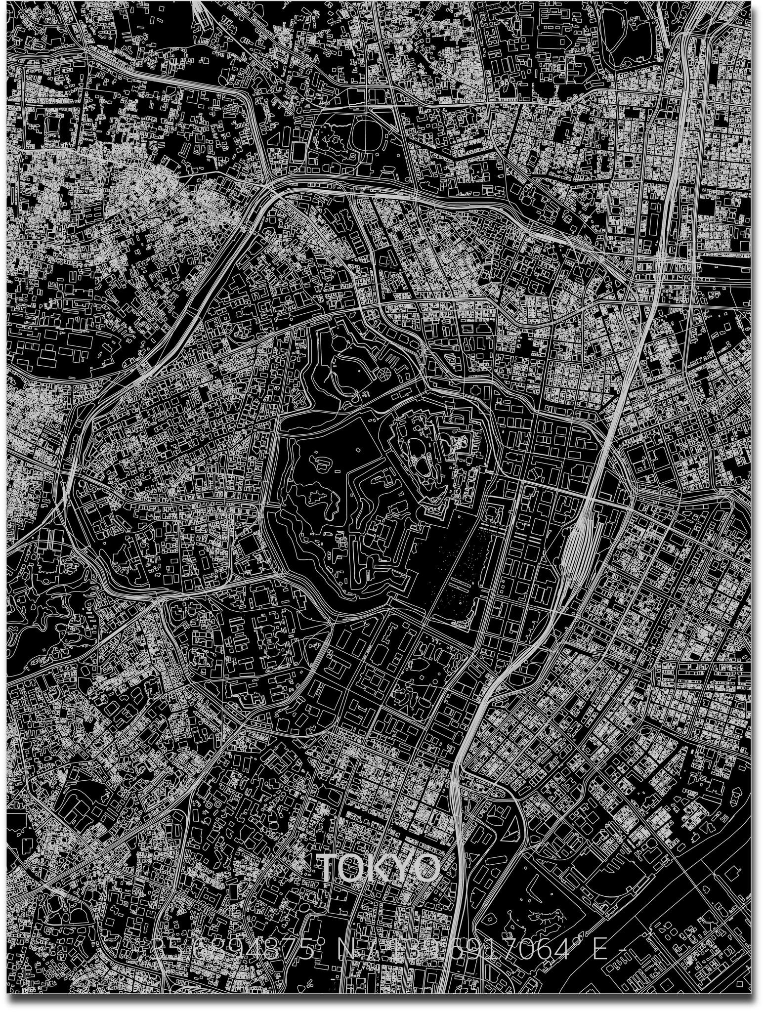 Stadtkarte Tokyo | Aluminium Wanddekoration-1