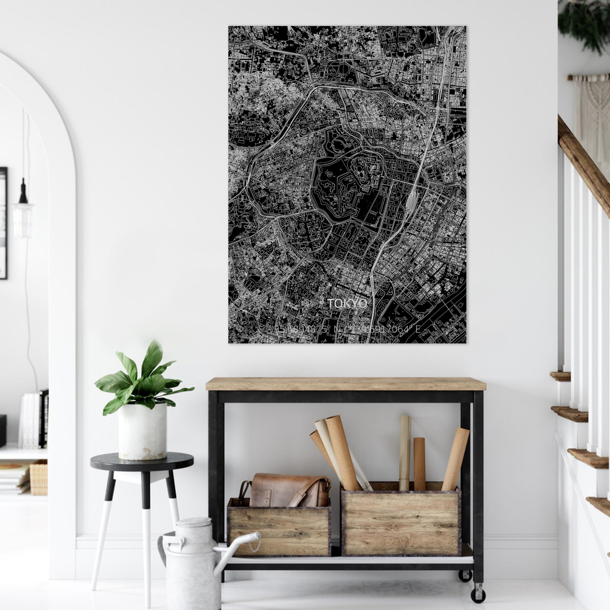Stadtkarte Tokyo | Aluminium Wanddekoration-2