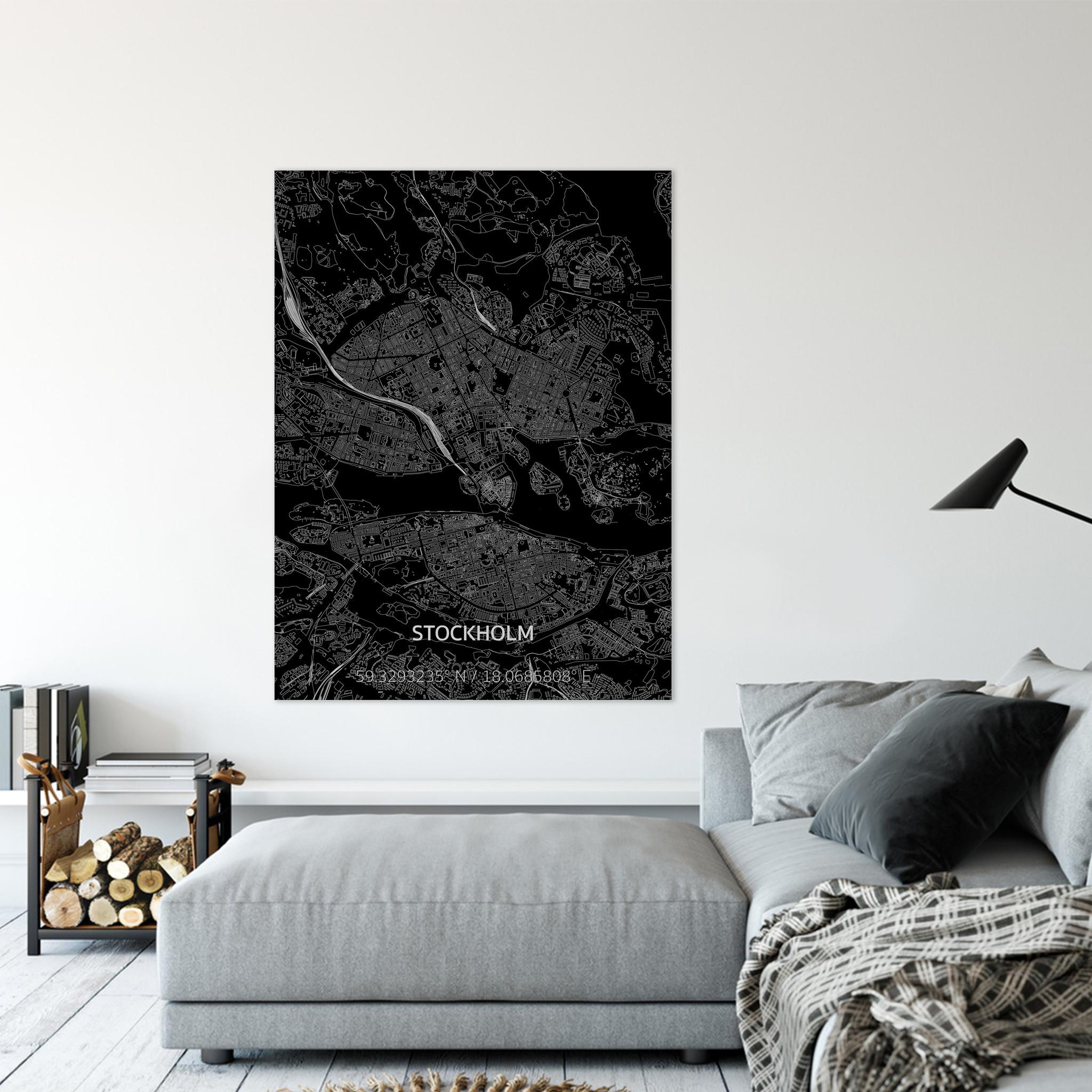 Stadtkarte Stockholm | Aluminium Wanddekoration-2