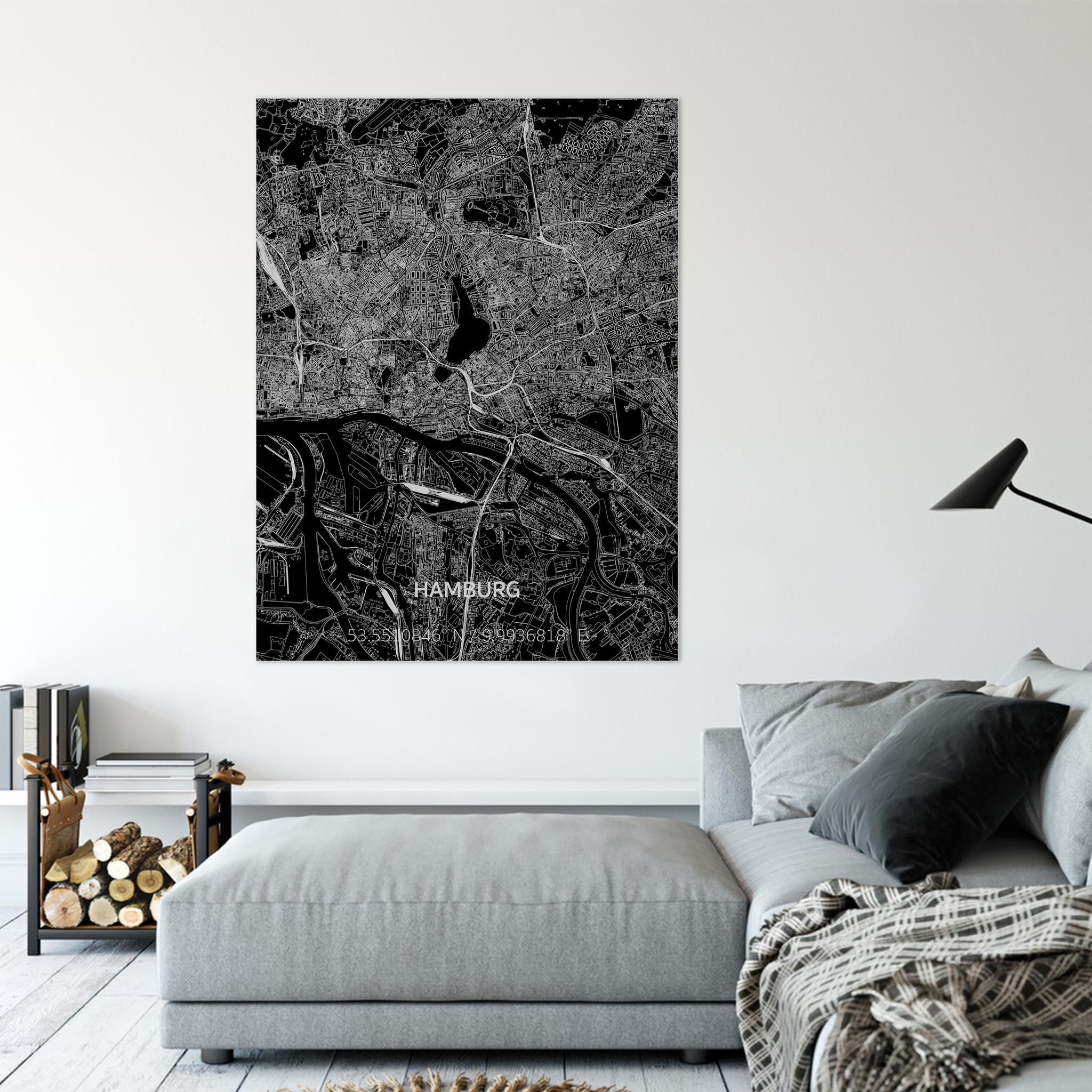 Citymap Hamburg | Aluminium wanddecoratie-2