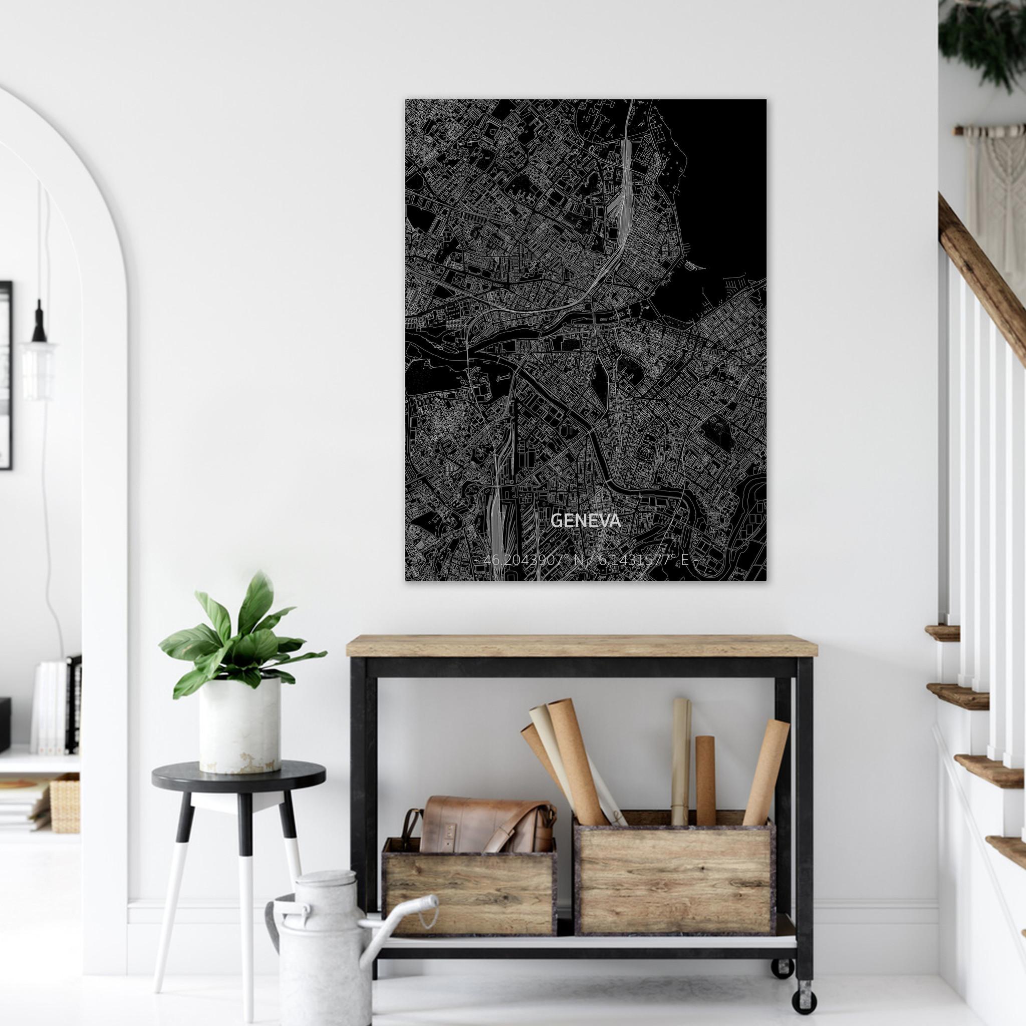 Citymap Genève | Aluminium wanddecoratie-2