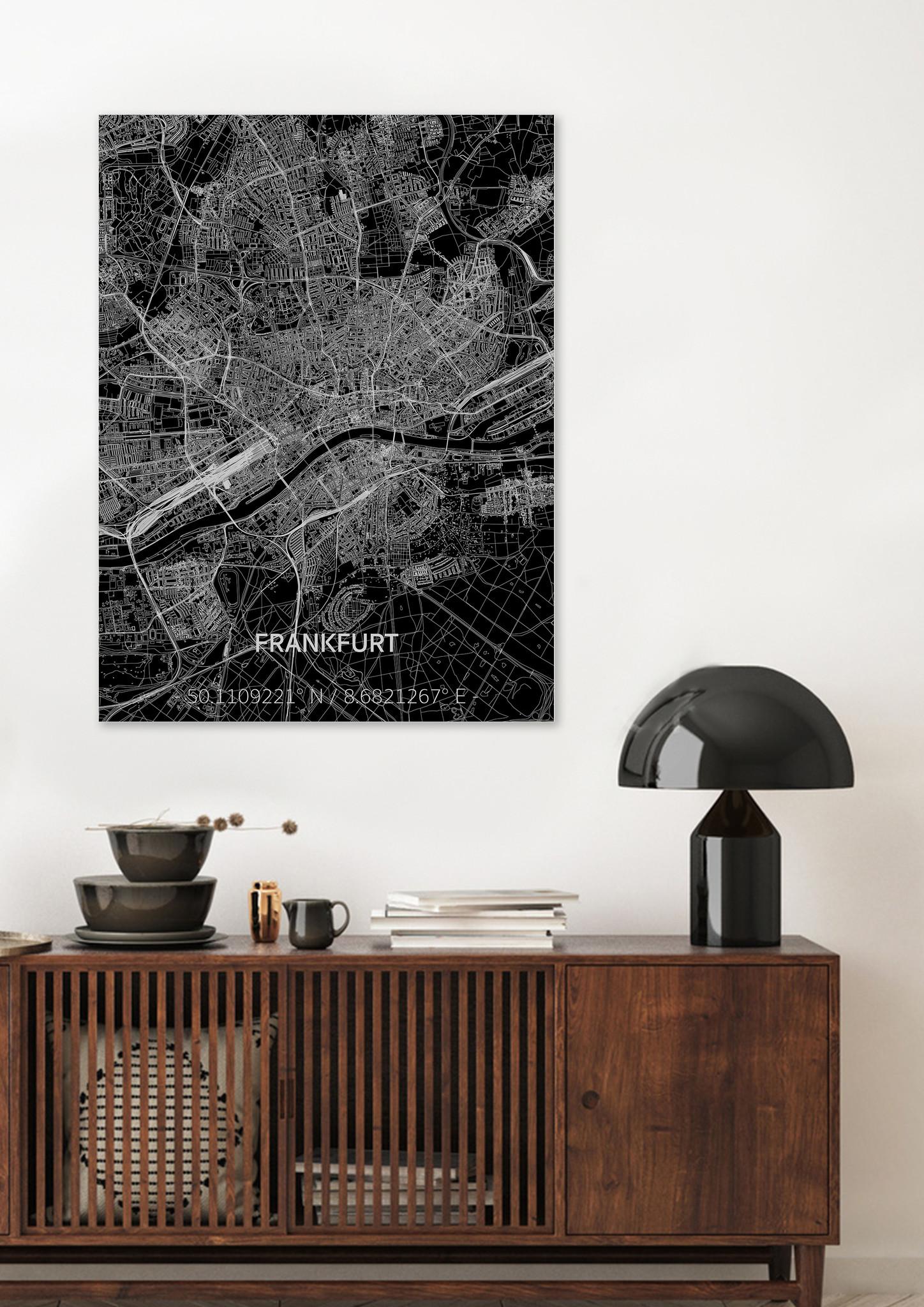 Stadtkarte Frankfurt | Aluminium Wanddekoration-2