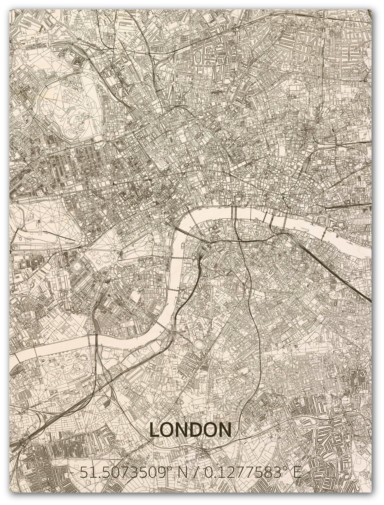 Wandbild Stadtplan London   Wanddekoration Holz-1