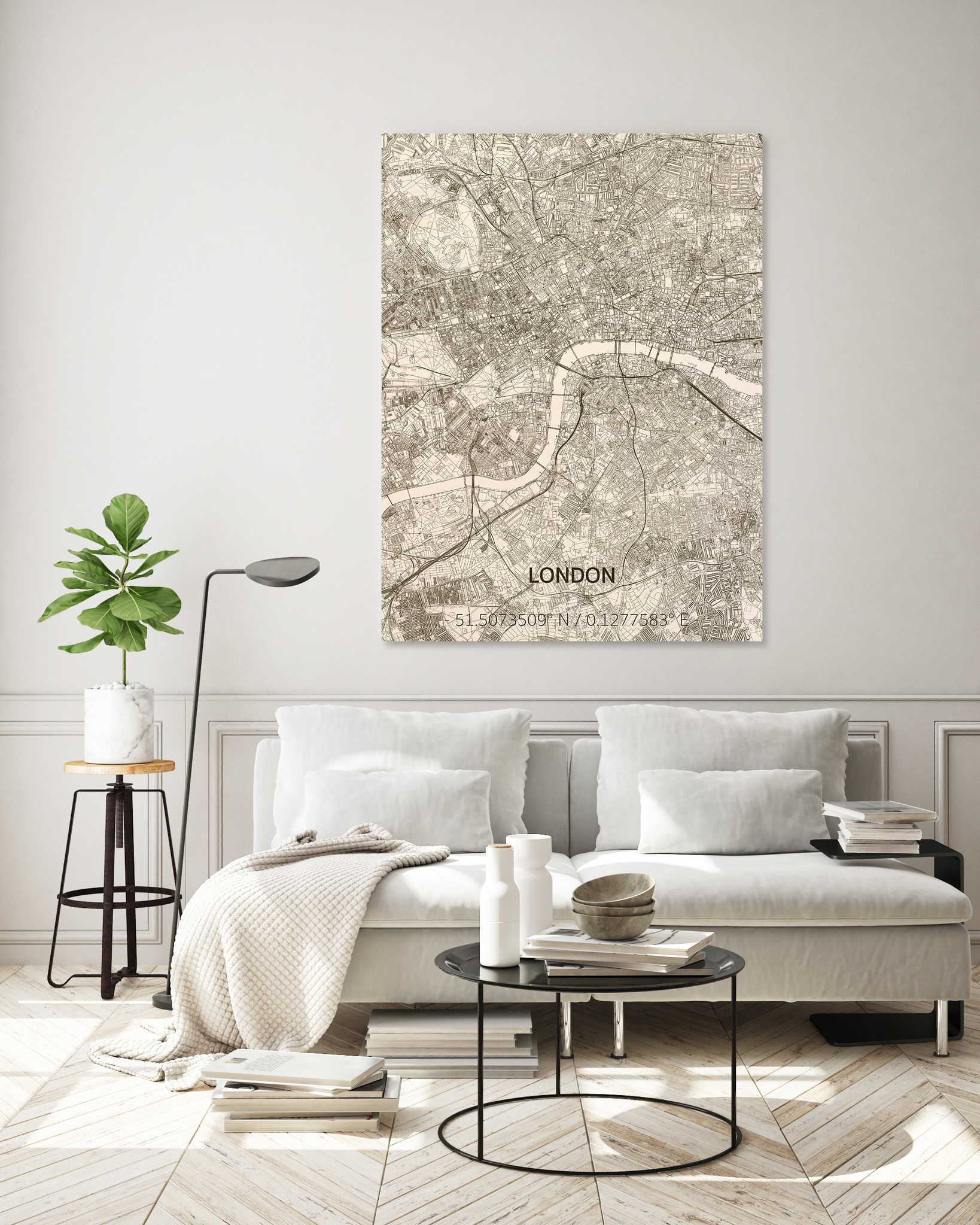 Wandbild Stadtplan London   Wanddekoration Holz-2