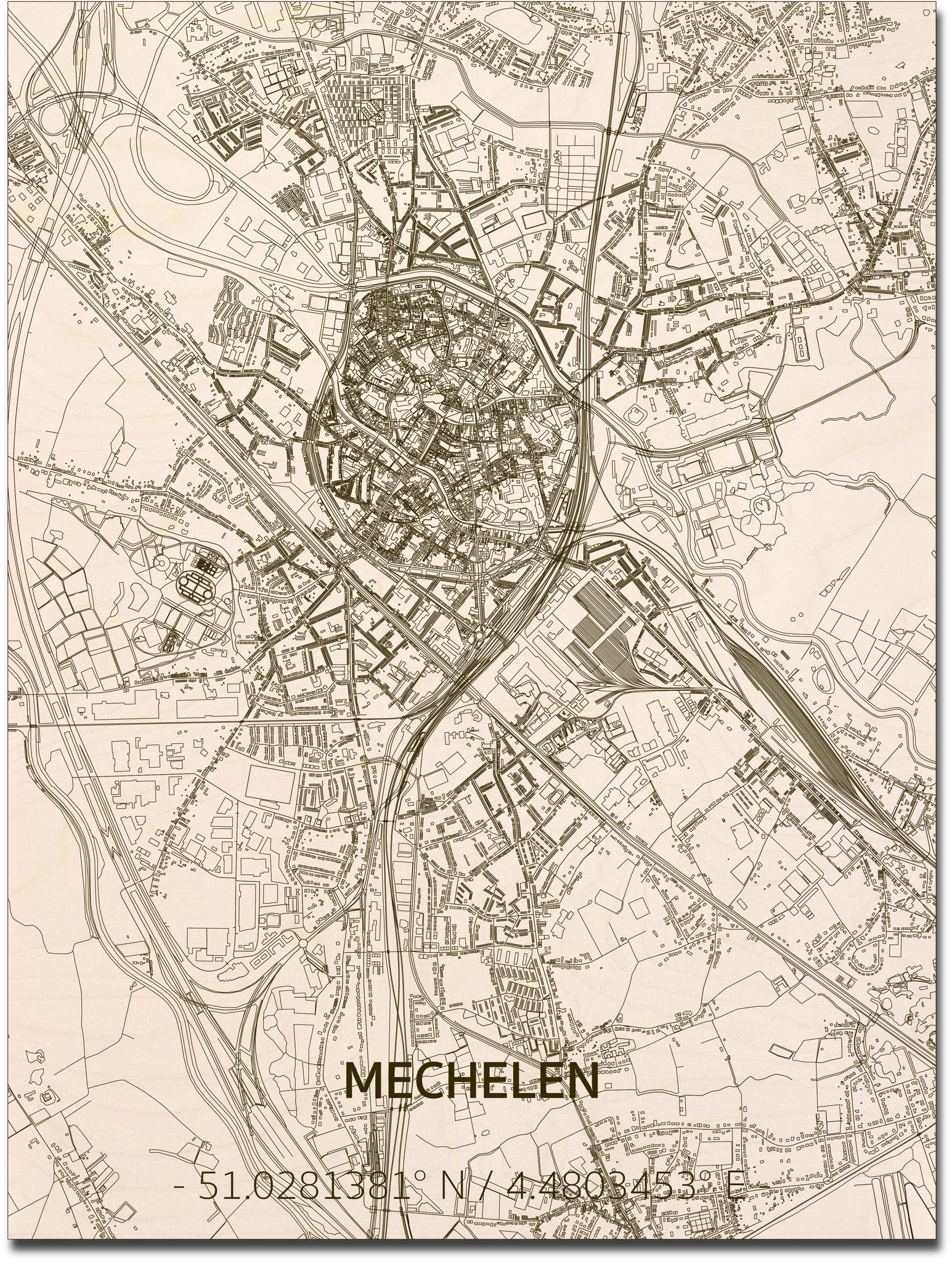 Stadtplan Mechelen | Wanddekoration Holz-1