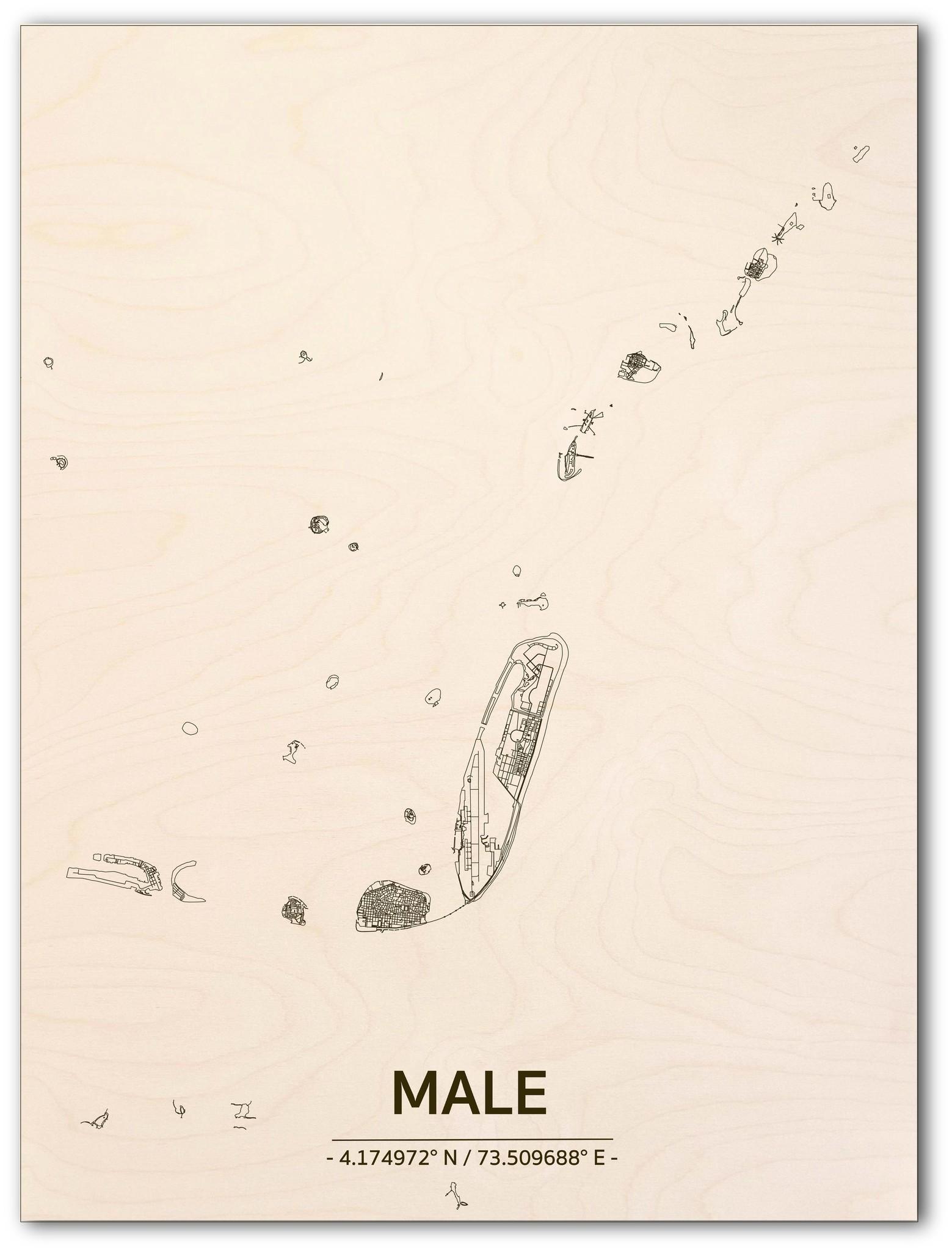 Stadtplan Male | Wanddekoration Holz-1