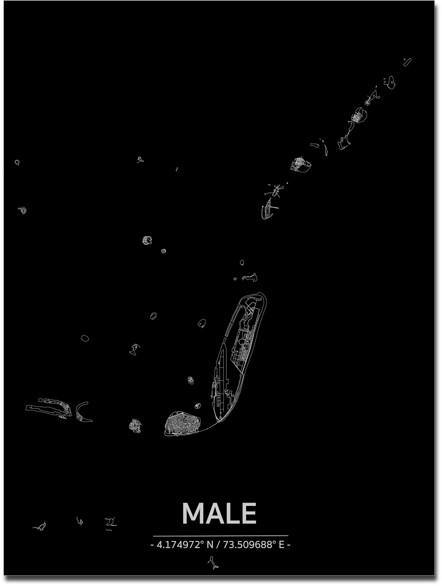 Citymap Male | Aluminium wanddecoratie-1