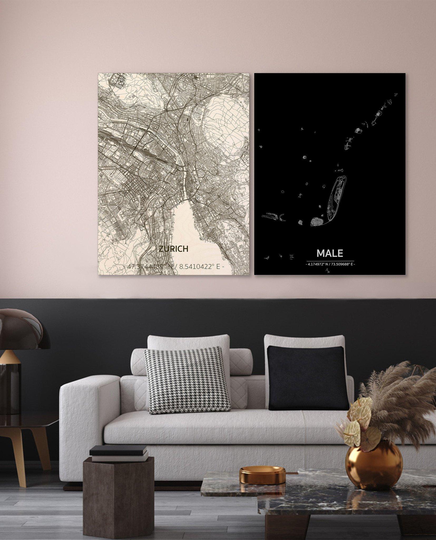 Stadtkarte Male | Aluminium Wanddekoration-2