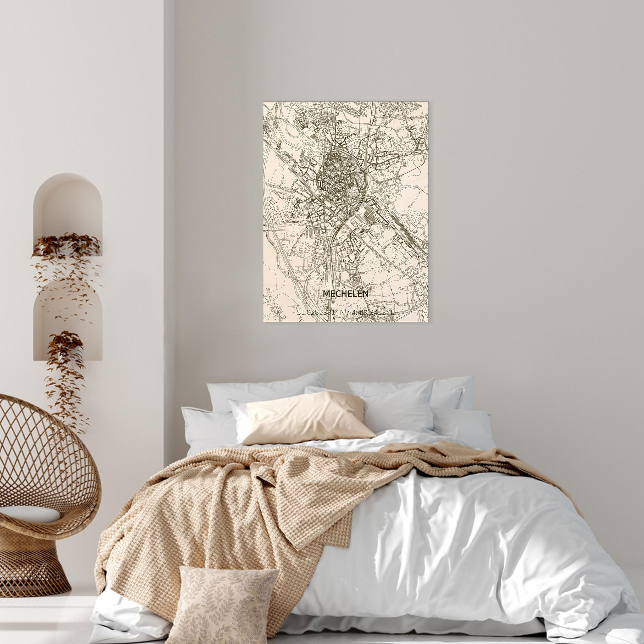 Stadtplan Mechelen | Wanddekoration Holz-2